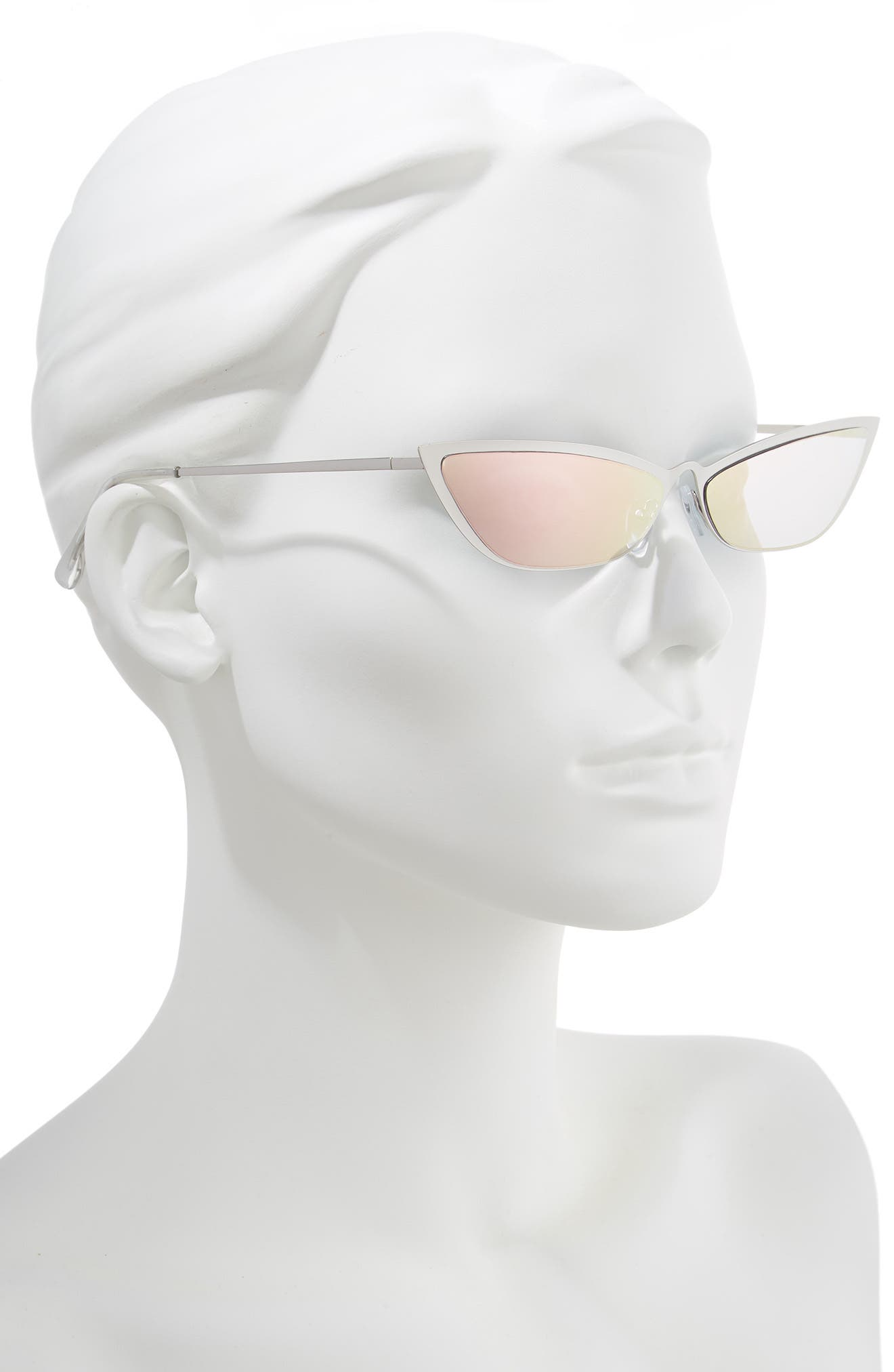 67mm Mirror Cat Eye Sunglasses,                             Alternate thumbnail 2, color,                             SILVER/ PINK