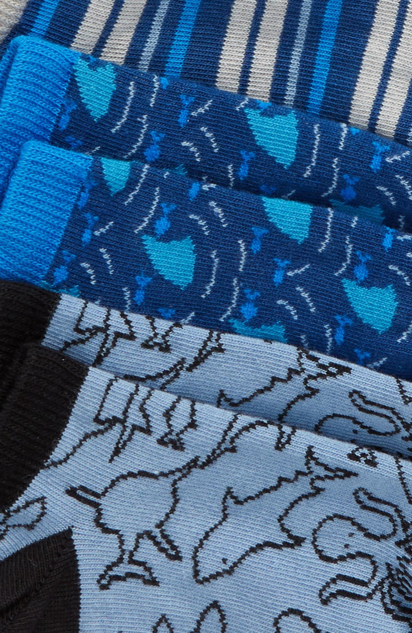 6-Pack Puffer Fish Low Cut Socks,                             Alternate thumbnail 2, color,                             BLUE CLOUD MULTI