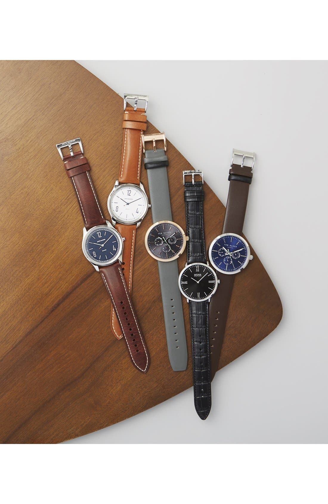 Jack Multifunction Leather Strap Watch, 42mm,                             Alternate thumbnail 4, color,                             BLUE/ BROWN