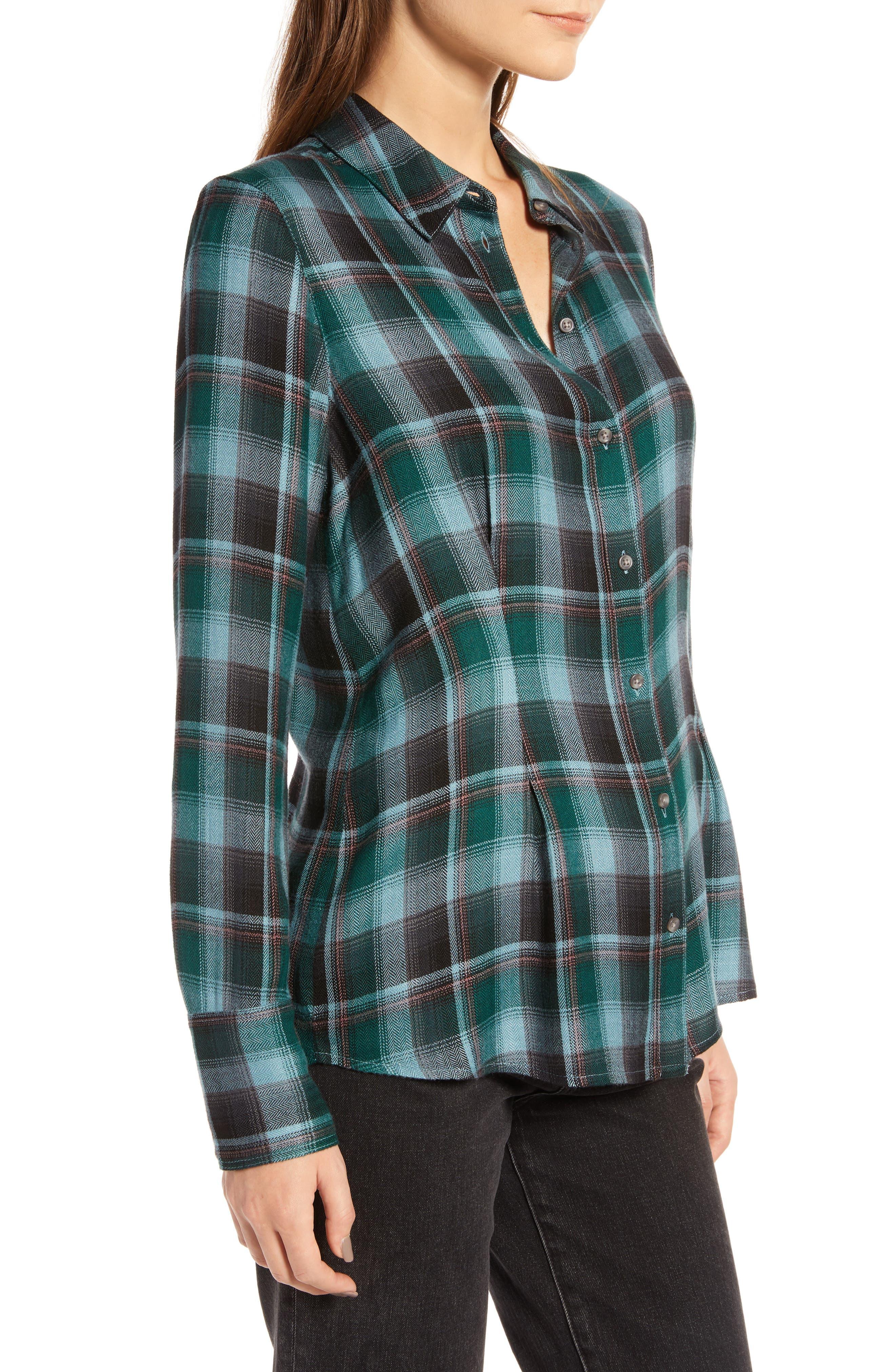 Plaid Corset Shirt,                             Alternate thumbnail 3, color,                             BLUE SMOKE BLANKET CHECK