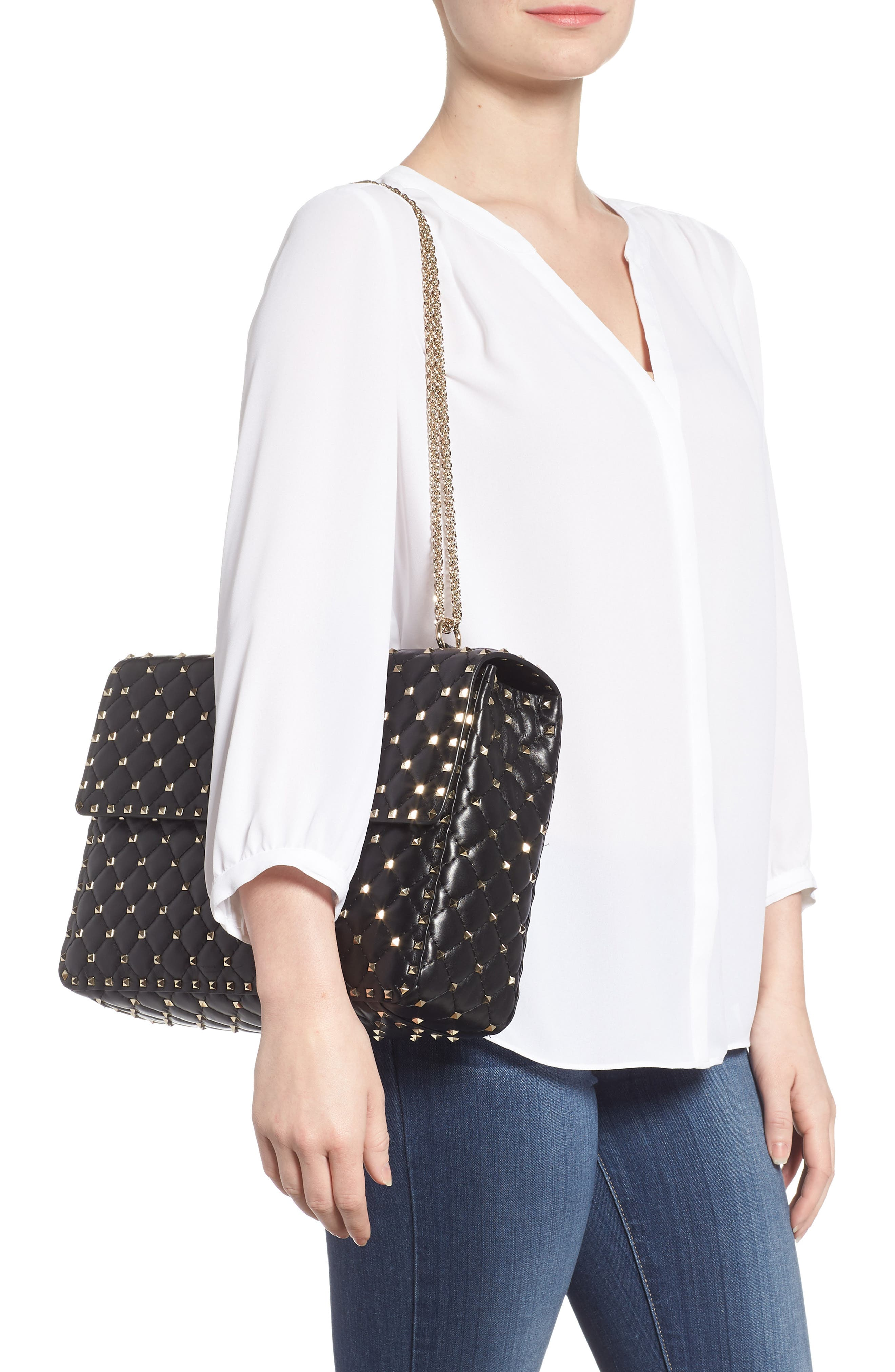 Rockstud Spike Maxi Shoulder Bag,                             Alternate thumbnail 2, color,                             BLACK