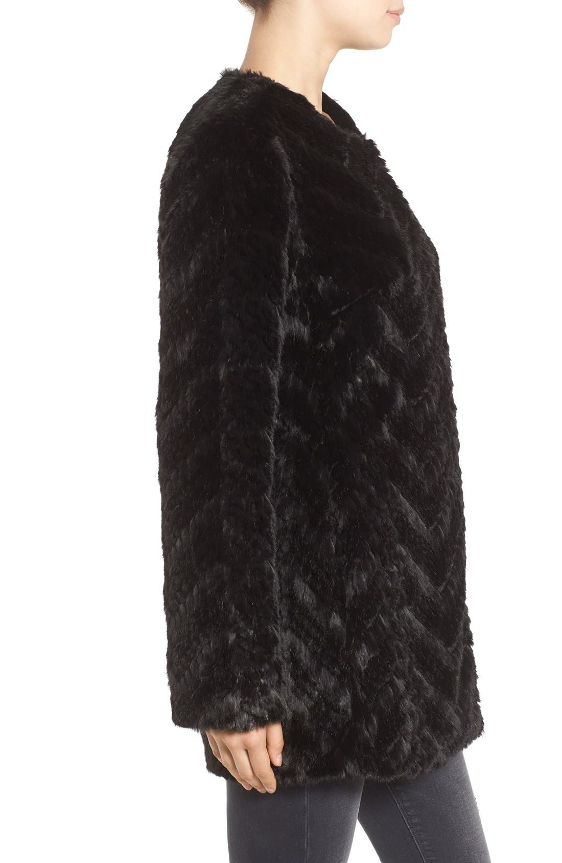 Tiered Faux Fur Topper,                             Alternate thumbnail 3, color,                             001