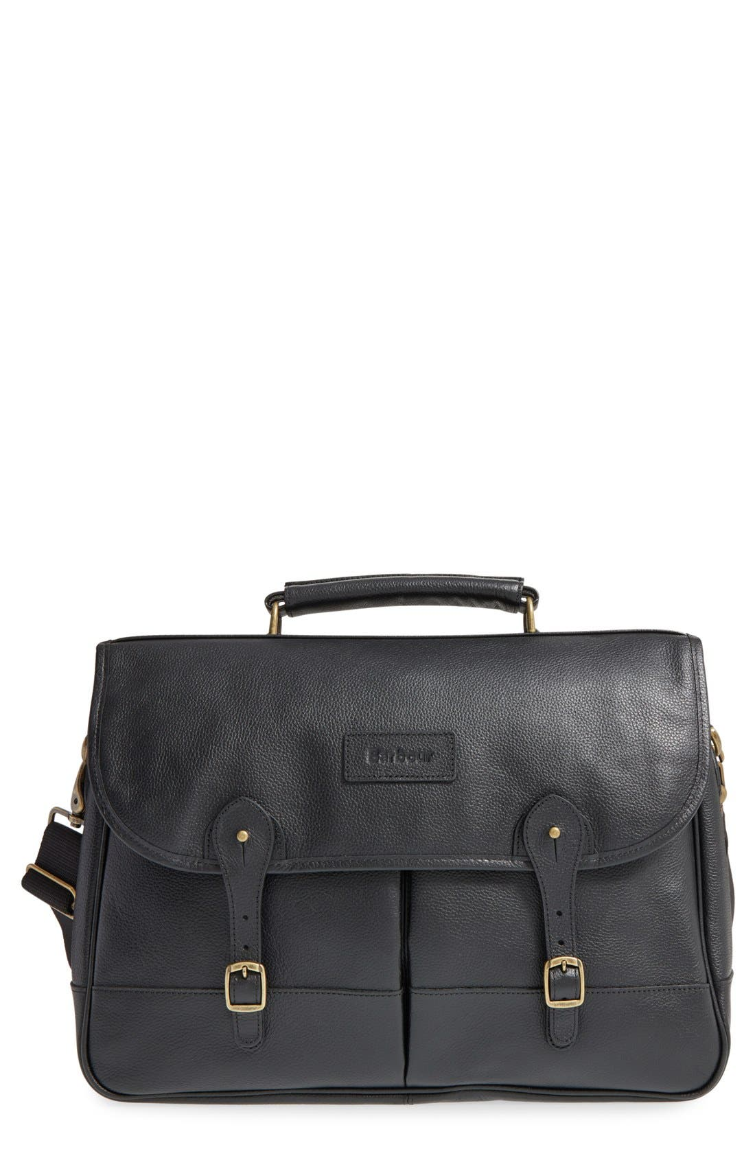 Leather Briefcase,                         Main,                         color, BLACK