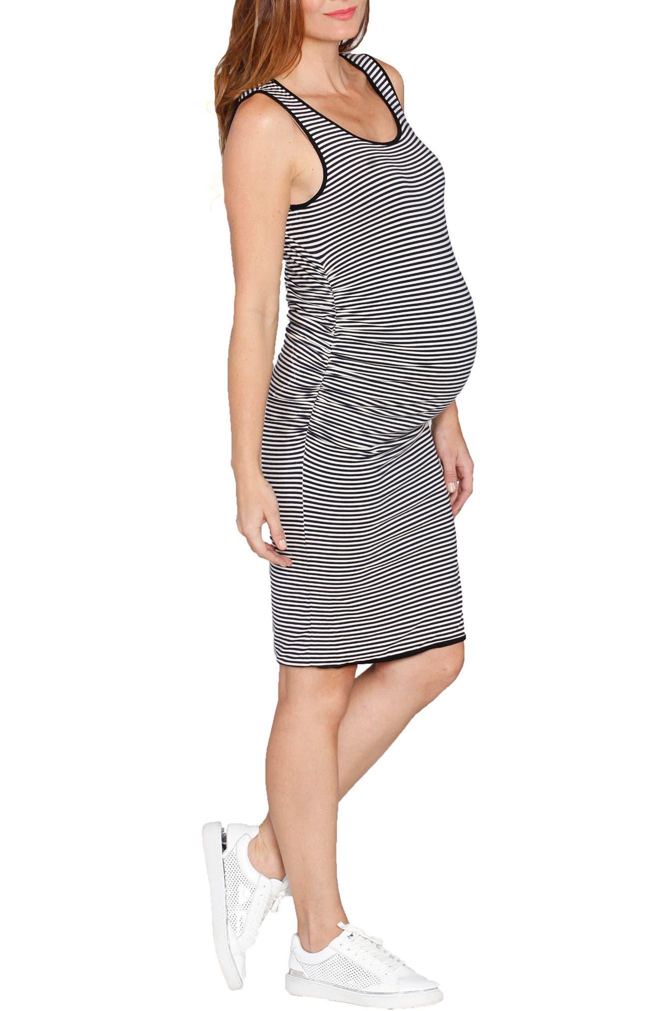 Reversible Maternity Tank Dress,                             Alternate thumbnail 4, color,                             STRIPES