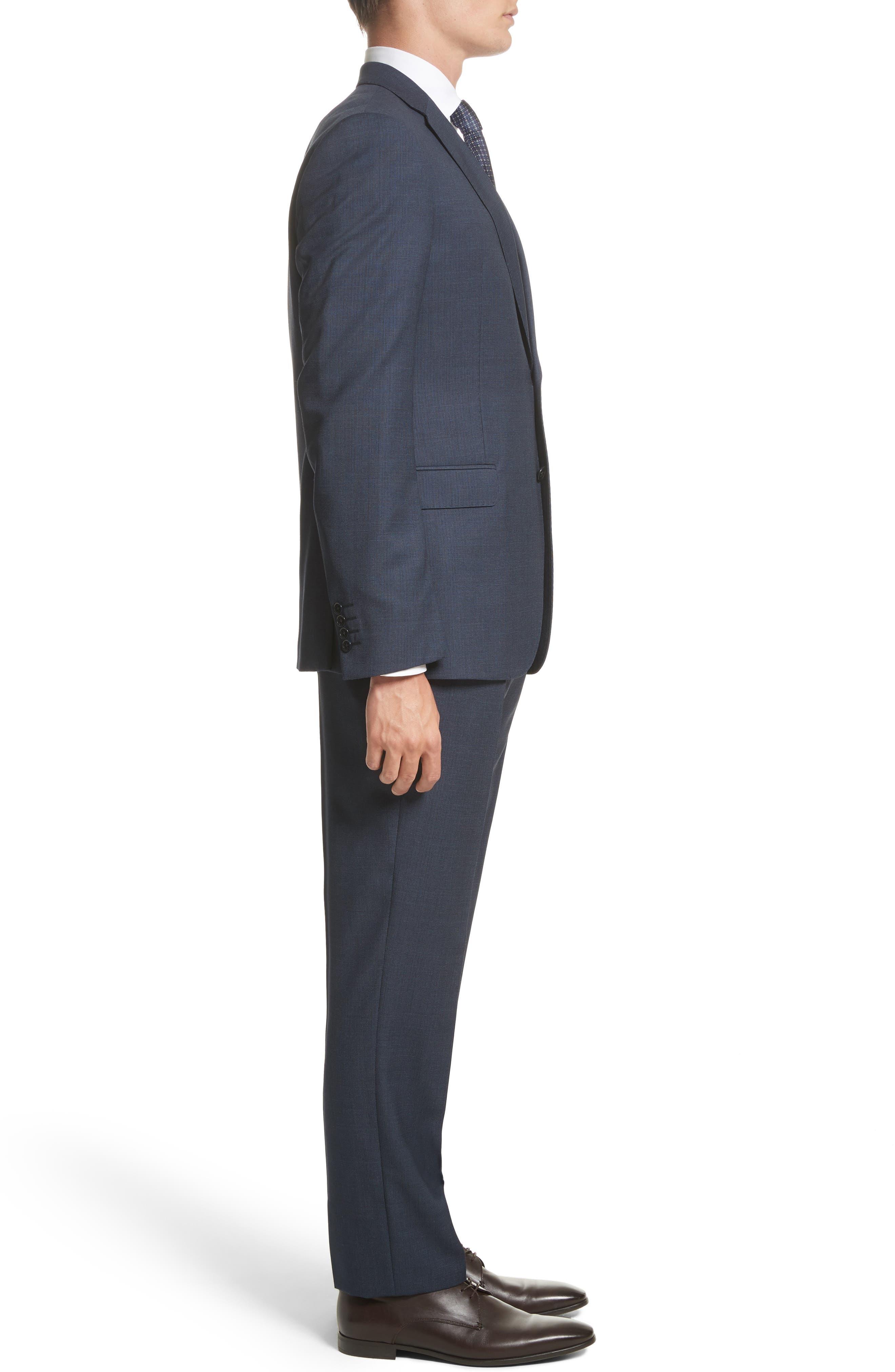 Emporio Armani M-Line Trim Fit Solid Wool Suit,                             Alternate thumbnail 3, color,