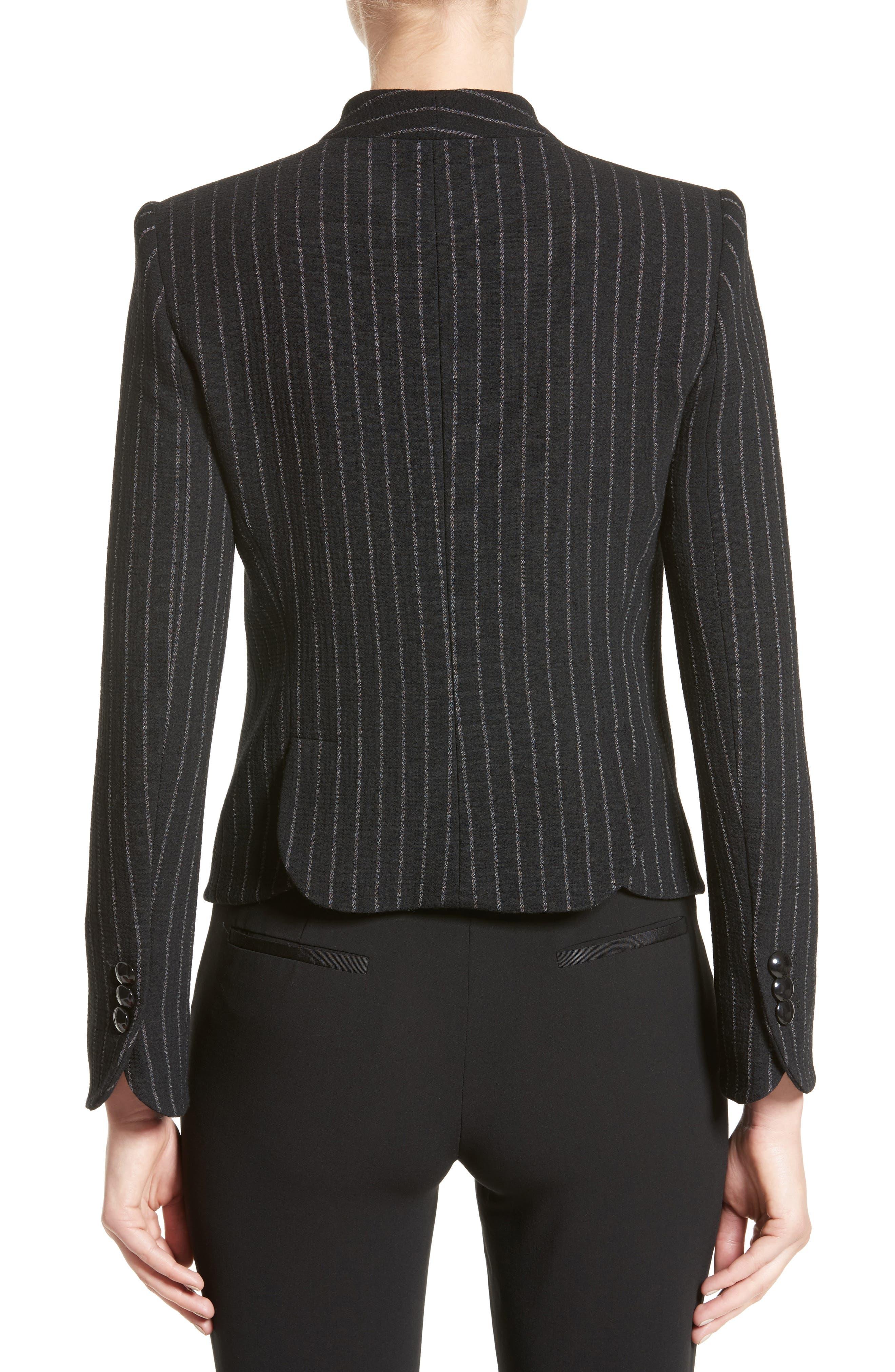 Stretch Wool Pinstripe Jacket,                             Alternate thumbnail 2, color,                             001
