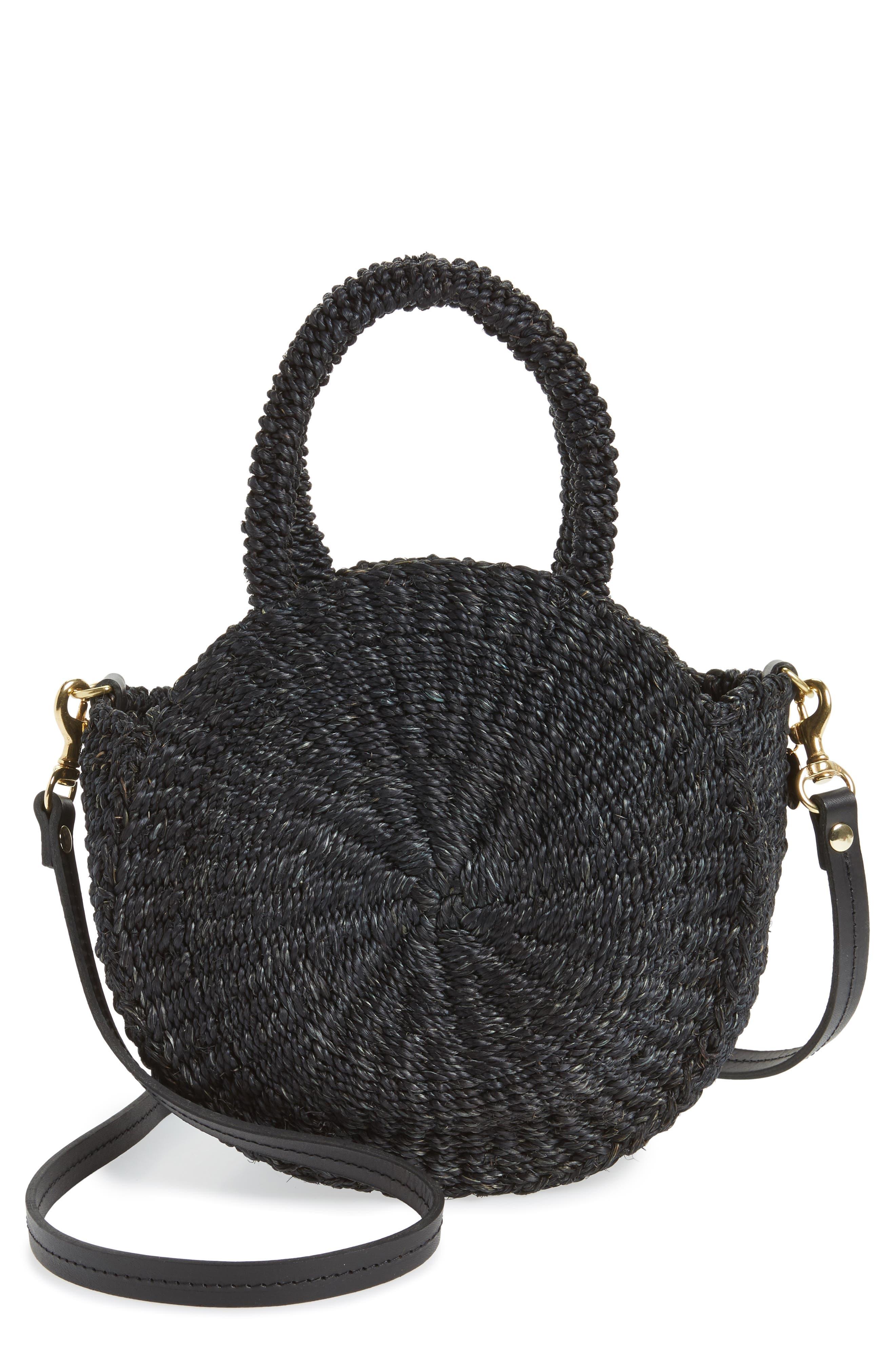 Petite Alice Straw Bag,                         Main,                         color, BLACK WOVEN