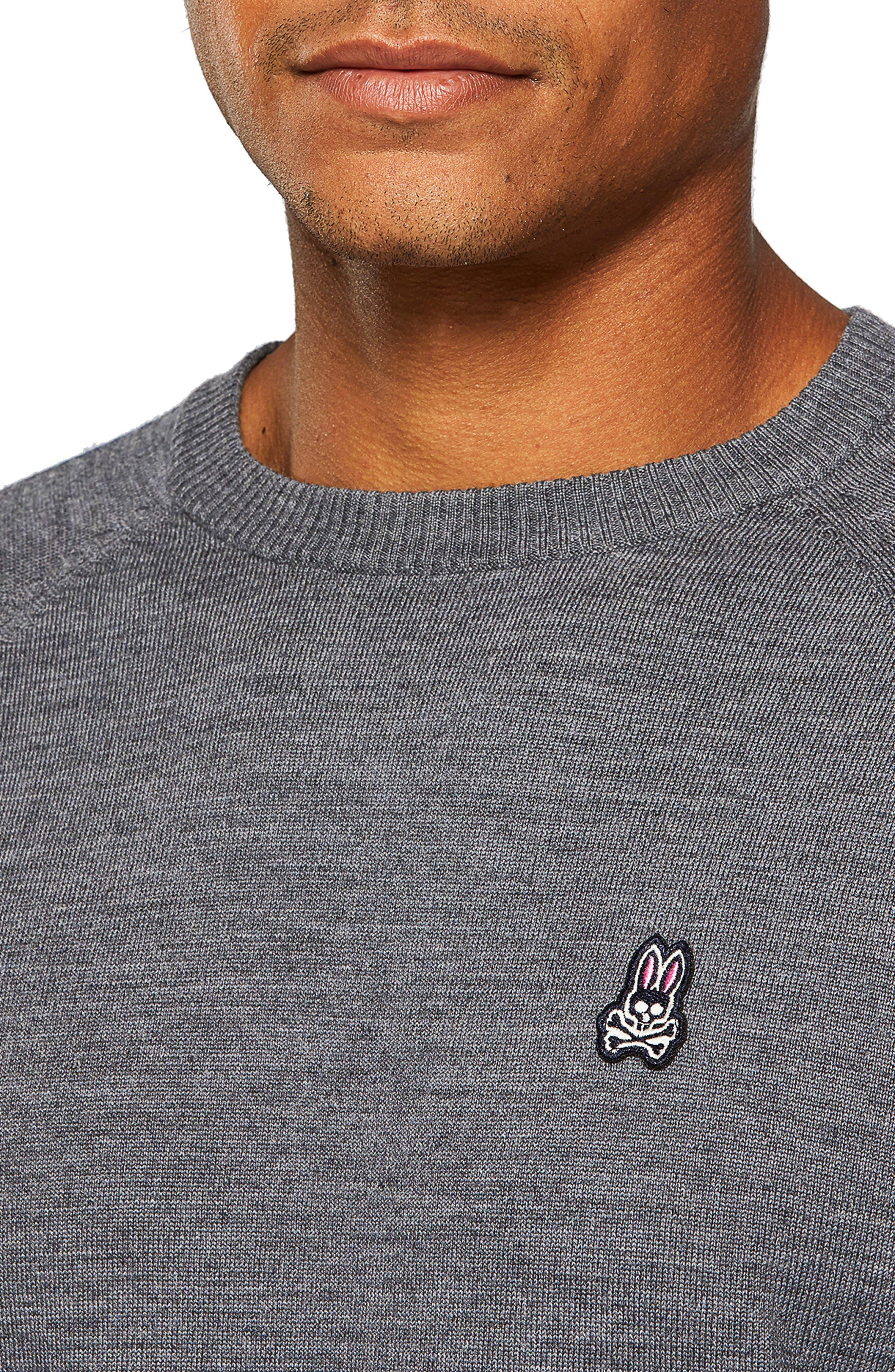 PSYCHO BUNNY,                             Raglan Merino Wool Sweater,                             Alternate thumbnail 3, color,                             HEATHER GREY