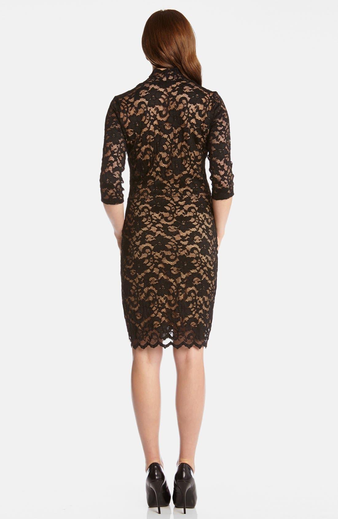 KAREN KANE,                             Scalloped Lace Sheath Dress,                             Alternate thumbnail 2, color,                             BLACK/ NUDE