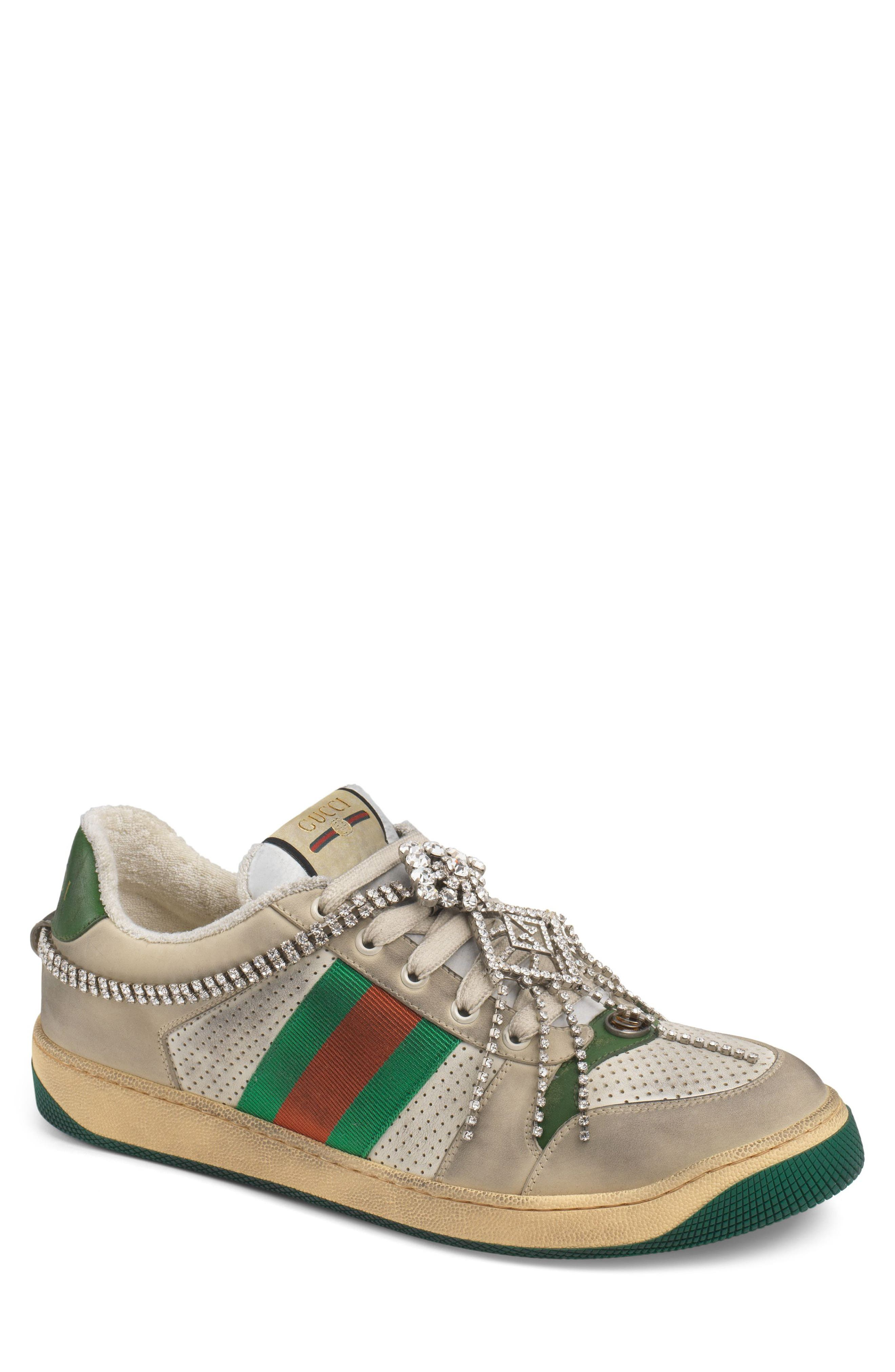 Screener Jewel Sneaker,                             Main thumbnail 1, color,                             BEIGE/ GREEN/ RED