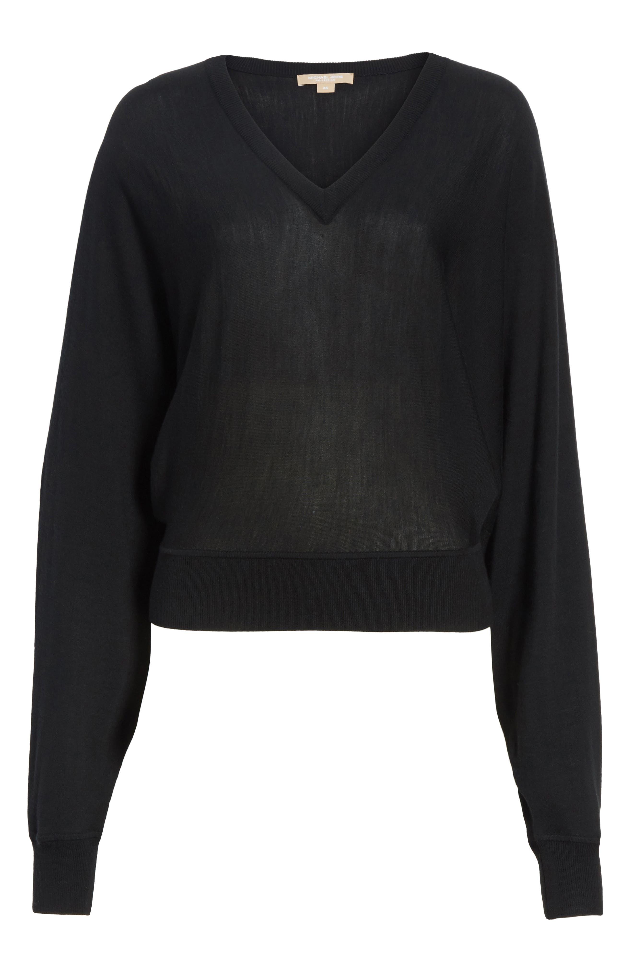 Merino Wool Blend Dolman Sweater,                             Alternate thumbnail 6, color,                             001