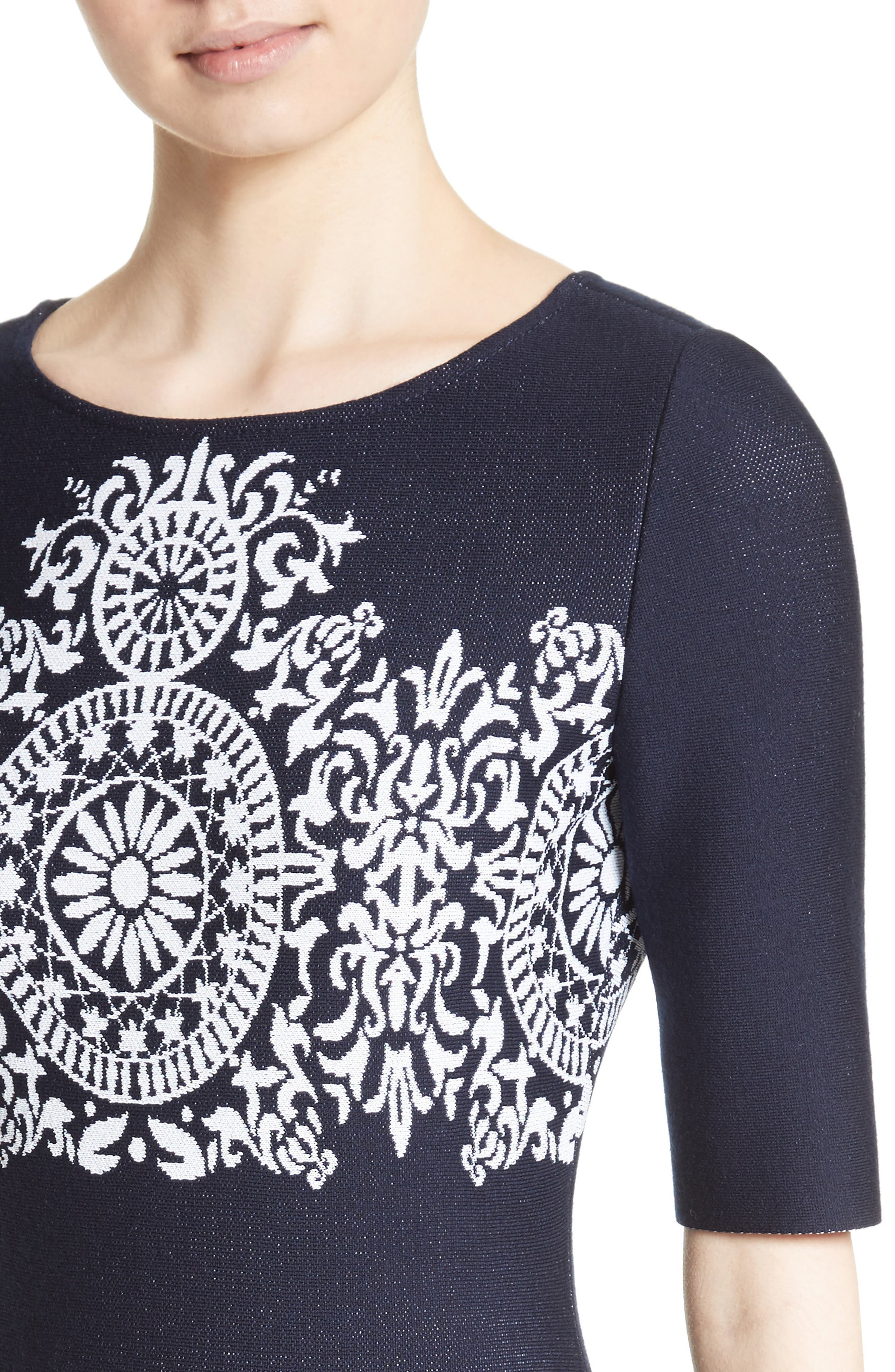 Nellore Jacquard Knit Fit & Flare Dress,                             Alternate thumbnail 4, color,                             410