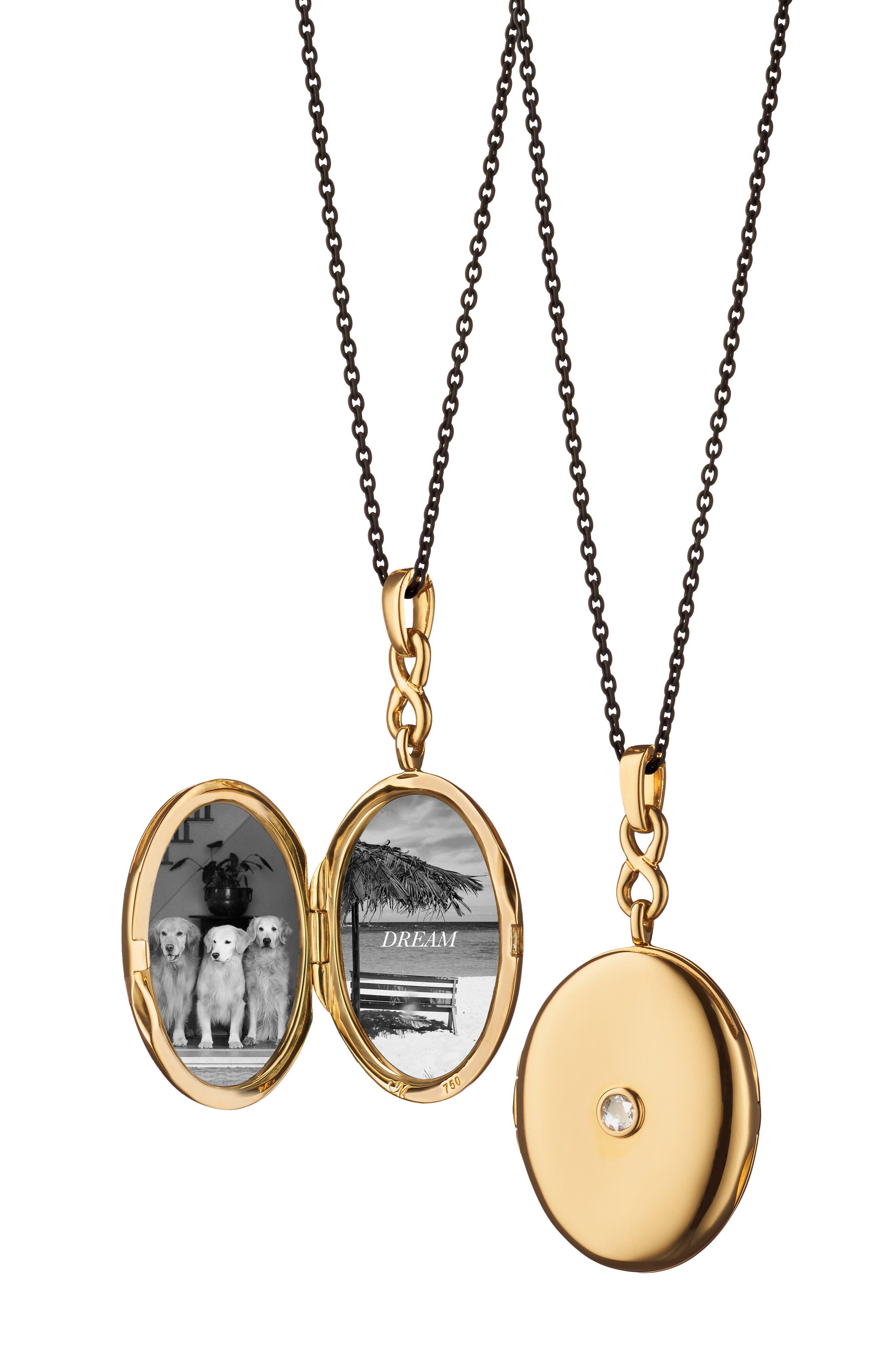 MONICA RICH KOSANN 18K Gold Locket Necklace With Diamond Center in Yellow Gold