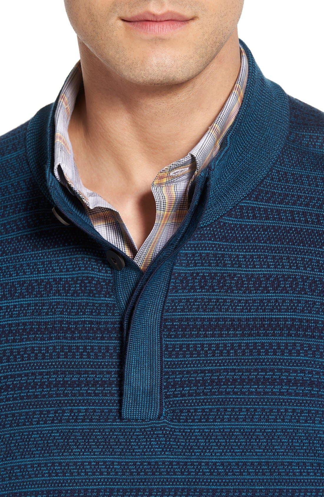 'Douglas Forest' Jacquard Wool Blend Sweater,                             Alternate thumbnail 3, color,