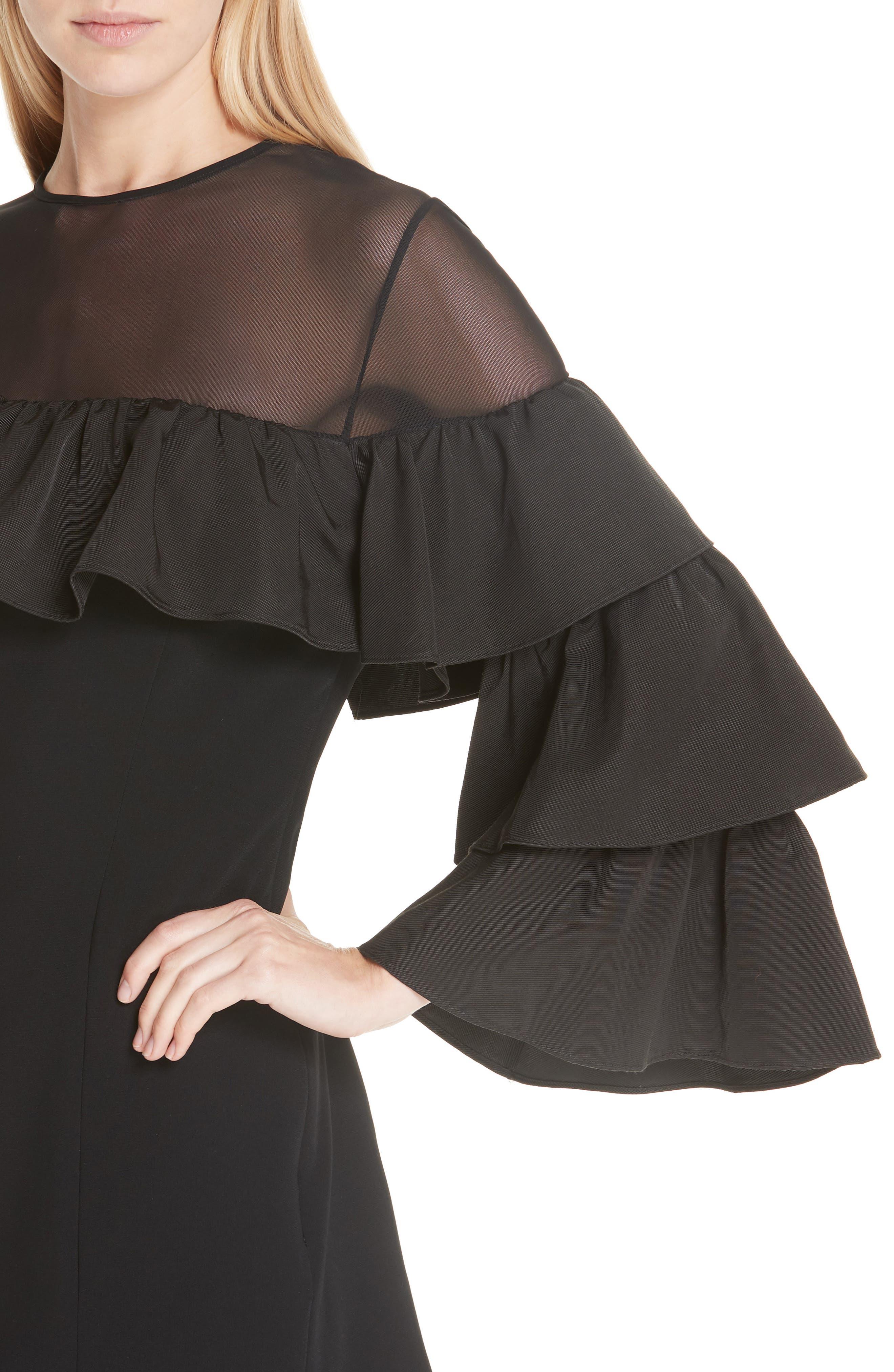 Valentina Ruffle Sleeve Dress,                             Alternate thumbnail 4, color,                             001