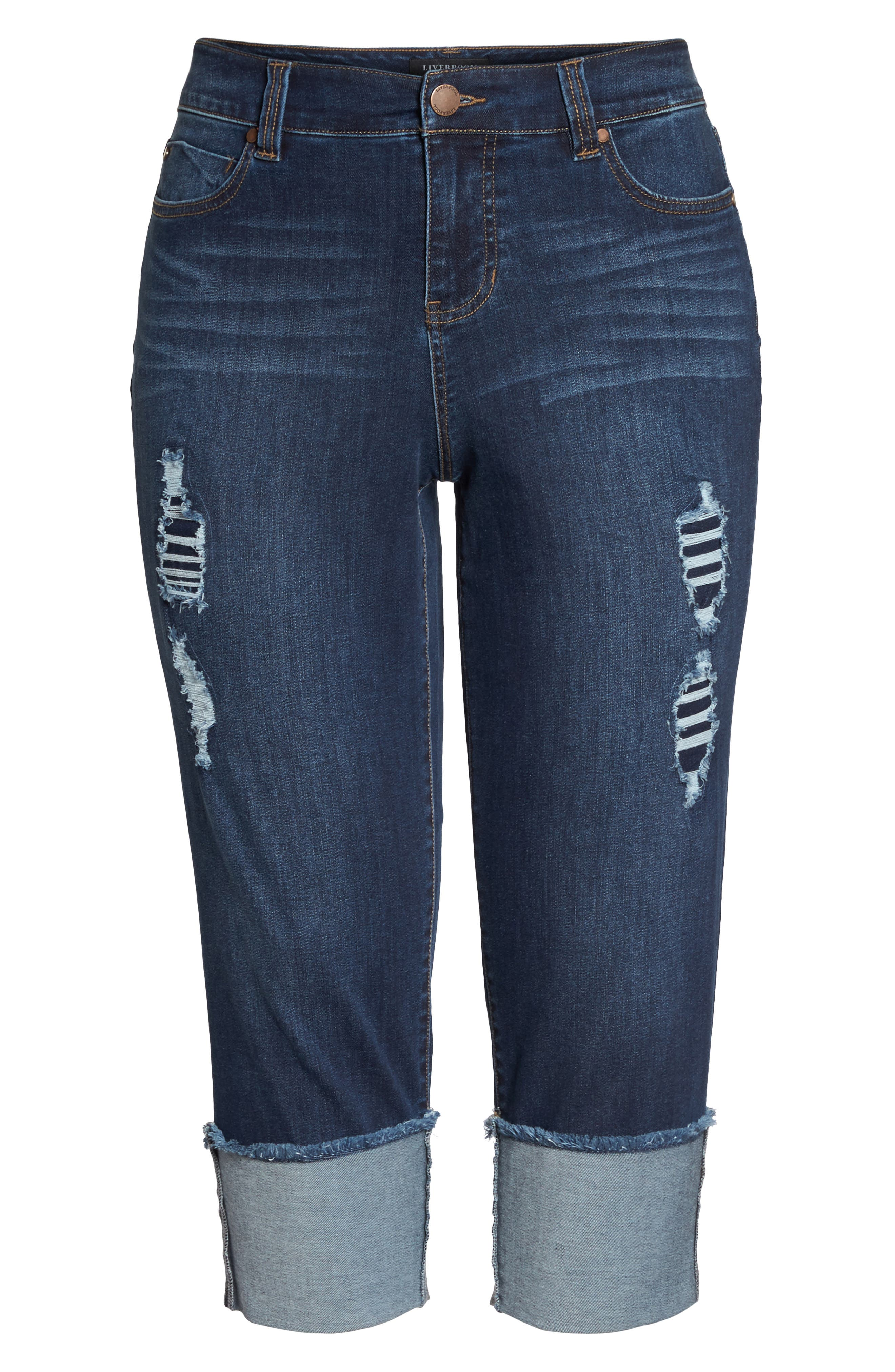 Morgan Wide Cuff Crop Jeans,                             Alternate thumbnail 7, color,                             CHAPMAN WASH
