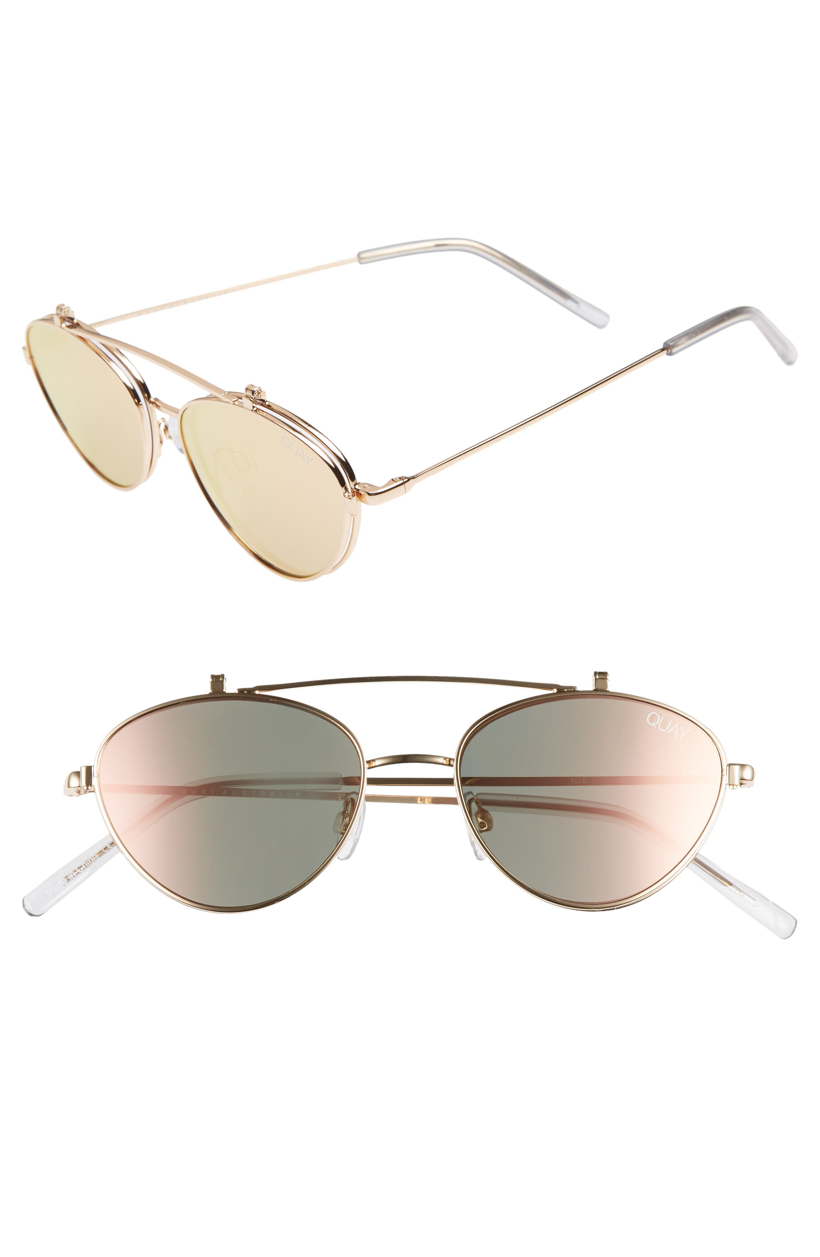 QUAY X Elle Ferguson Elle 59Mm Round Sunglasses - Gold/ Rose