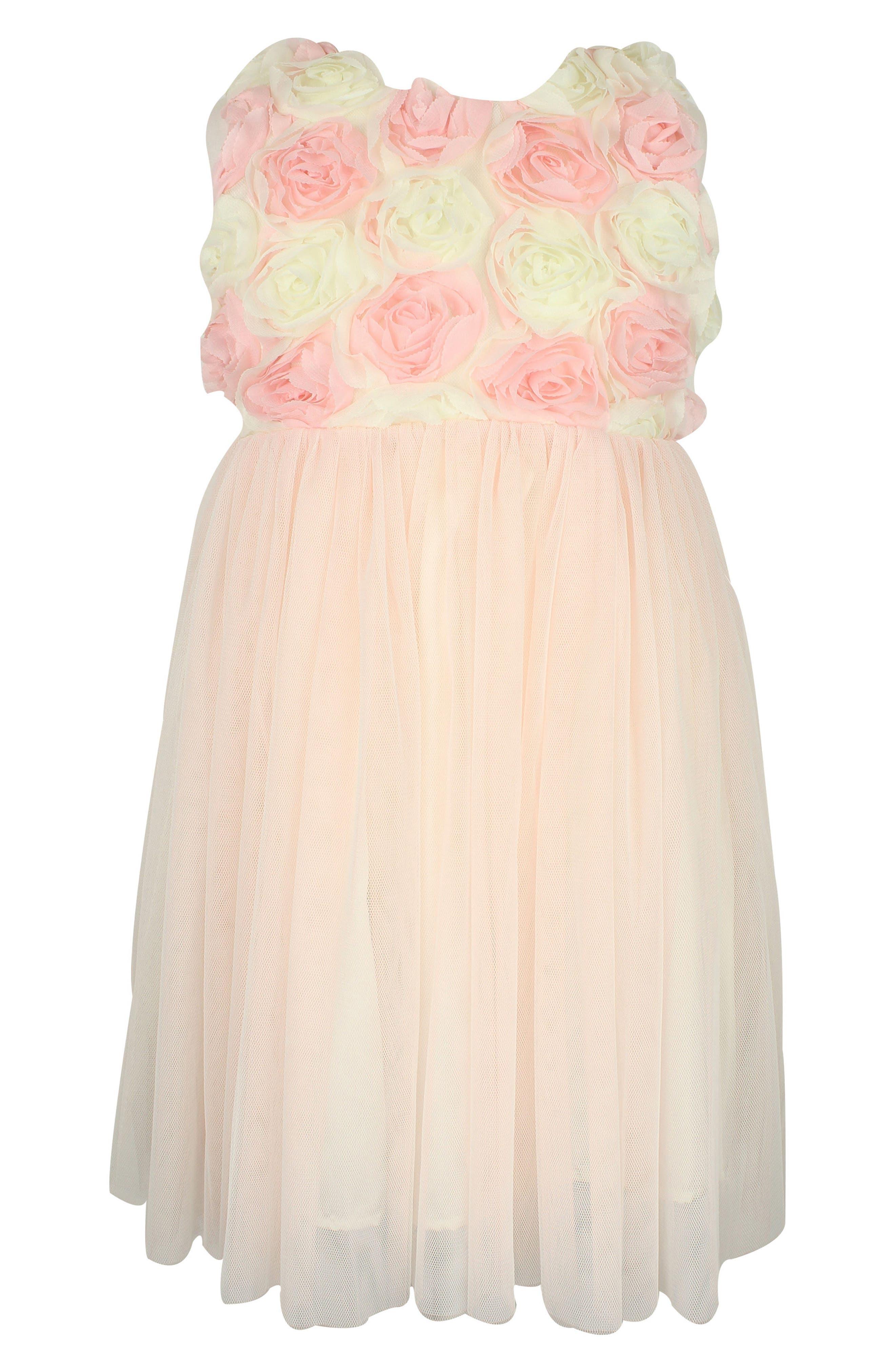 Rosette Tulle Dress,                         Main,                         color, 100