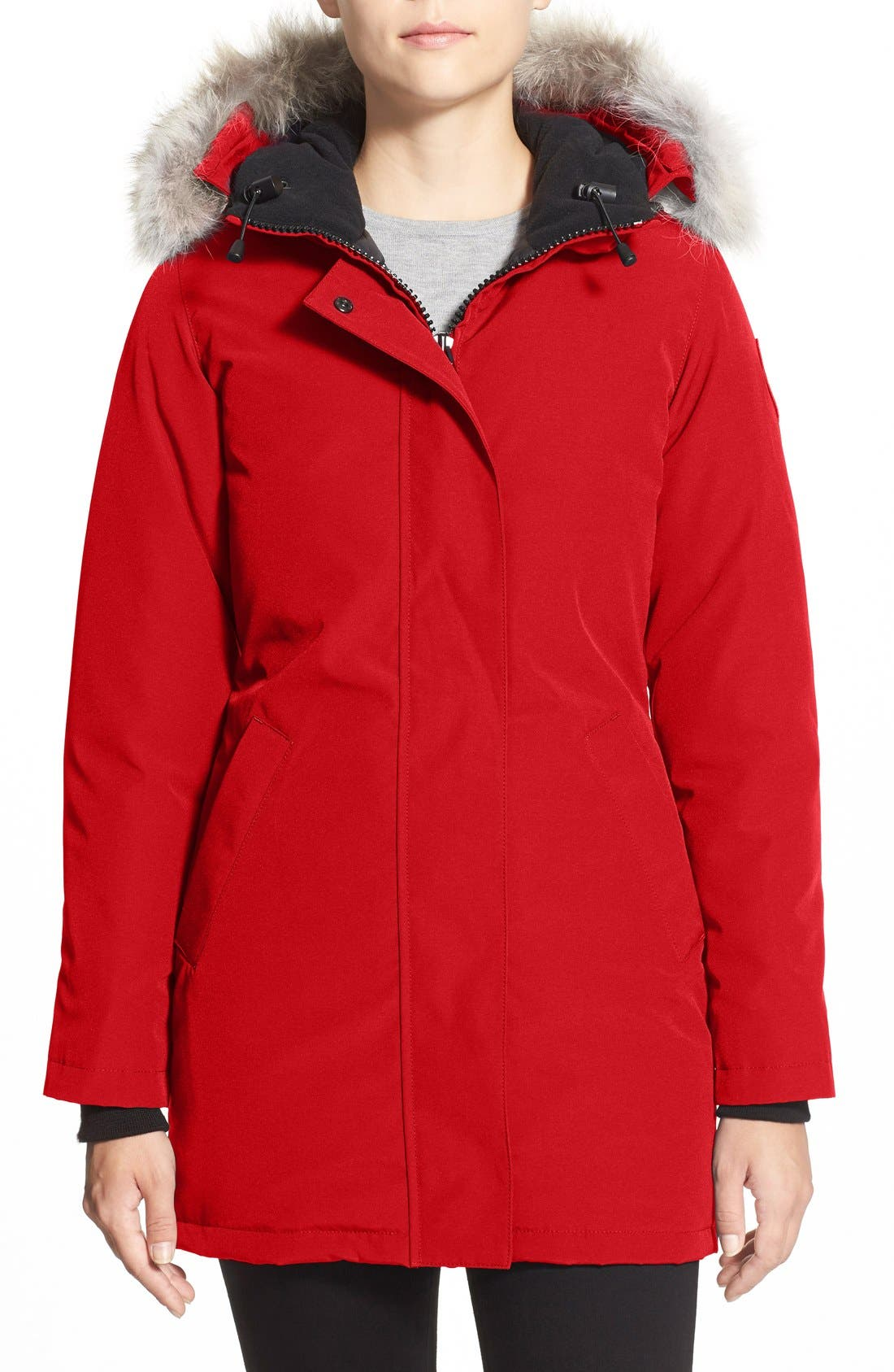 Victoria Down Parka with Genuine Coyote Fur Trim,                             Main thumbnail 1, color,                             RED