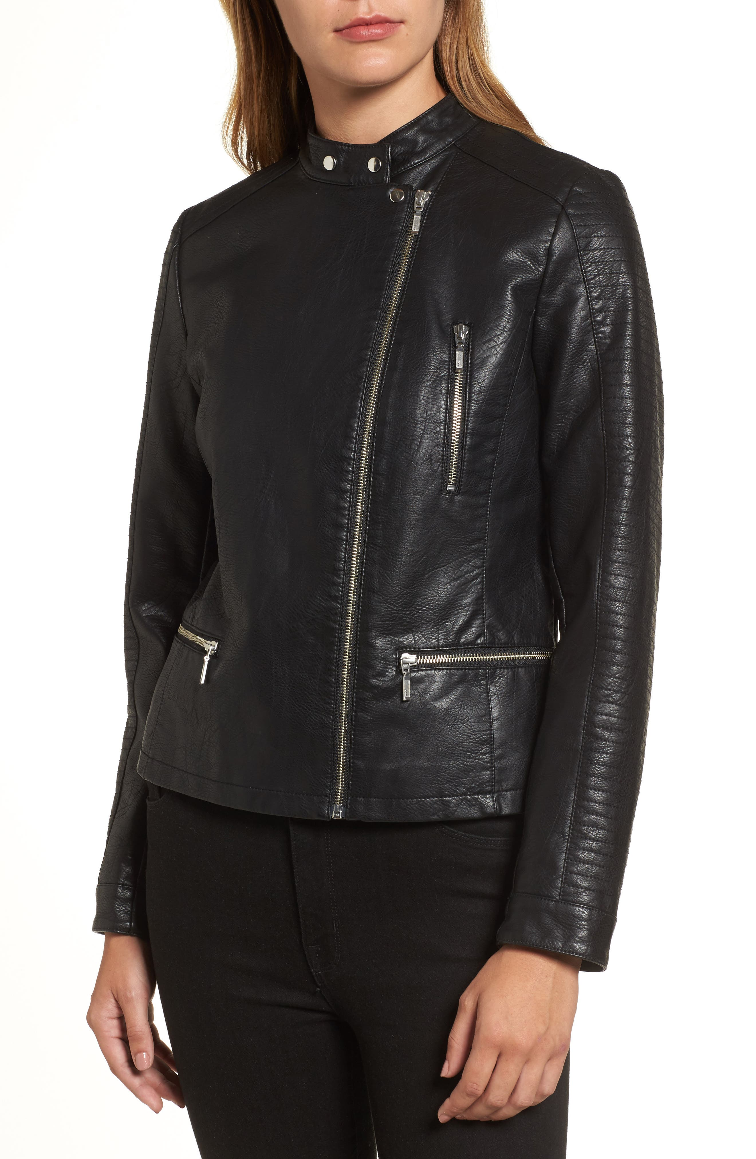 Quilted Faux Leather Moto Jacket,                             Alternate thumbnail 4, color,                             BLACK