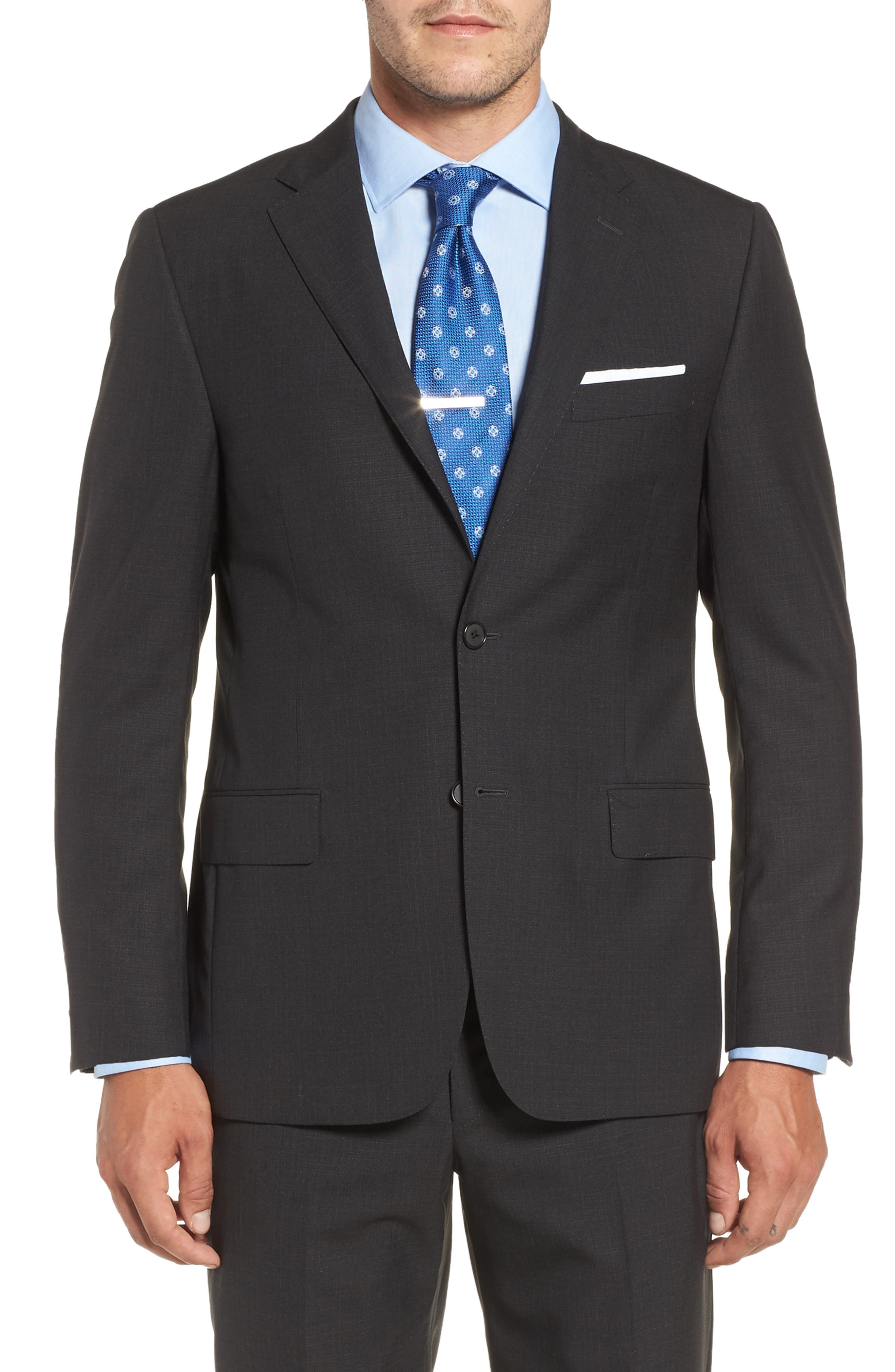 Classic B Fit Check Wool Suit,                             Alternate thumbnail 5, color,                             020