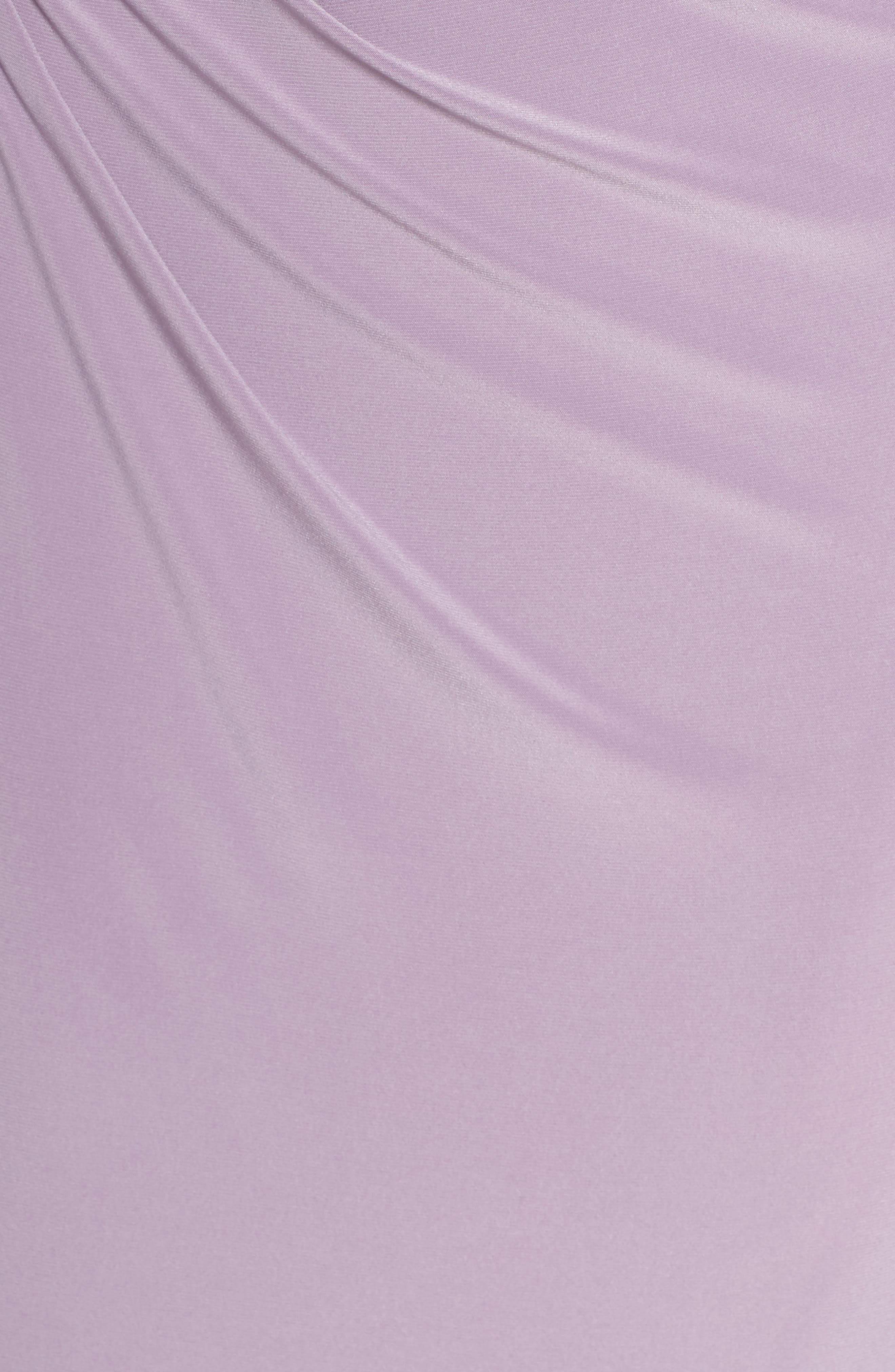 VINCE CAMUTO,                             Embellished Sleeve Ruched Evening Dress,                             Alternate thumbnail 6, color,                             LILAC