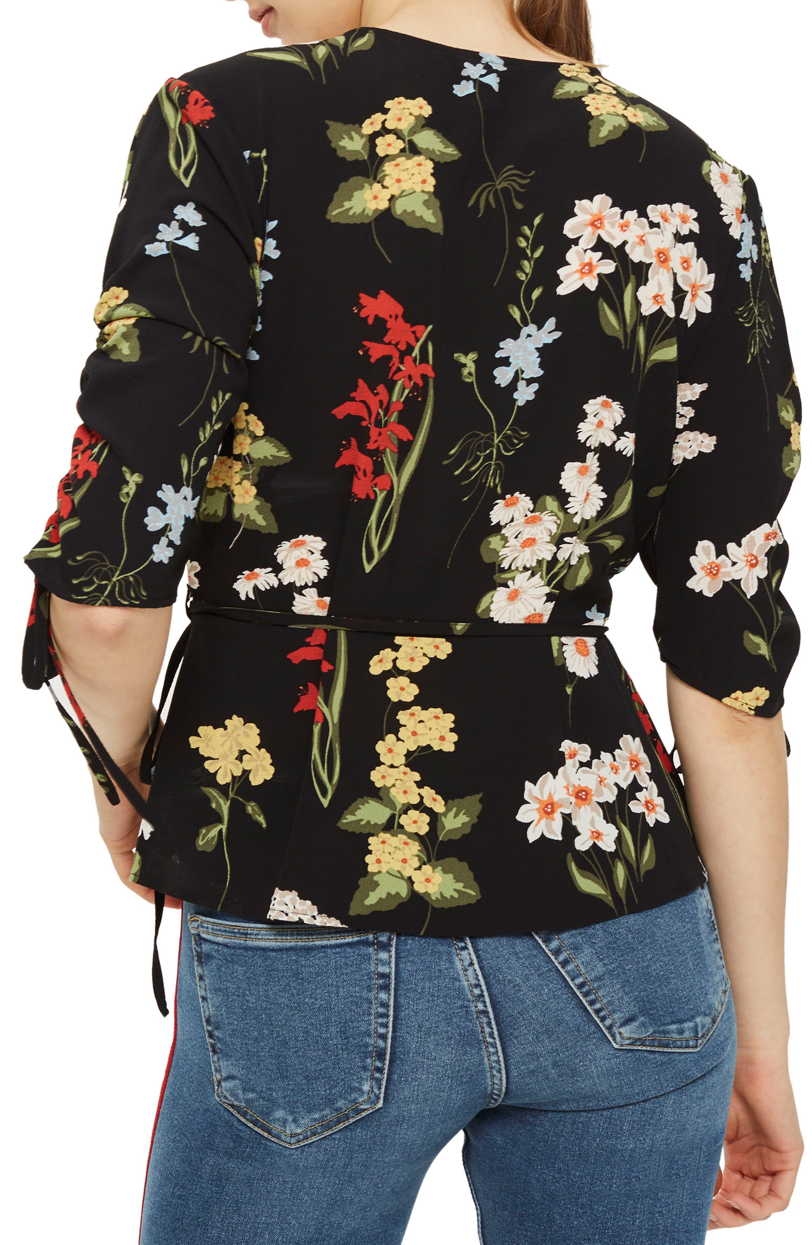 Floral Wrap Blouse,                             Alternate thumbnail 2, color,                             001