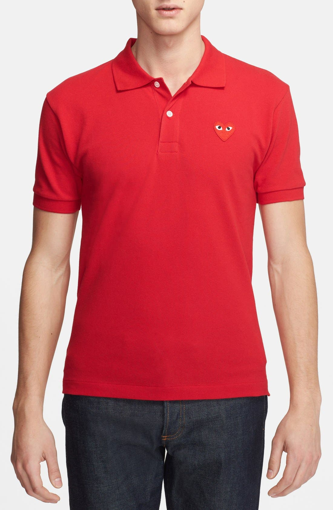 Comme des Garçons PLAY Piqué Polo with Heart Appliqué,                         Main,                         color,