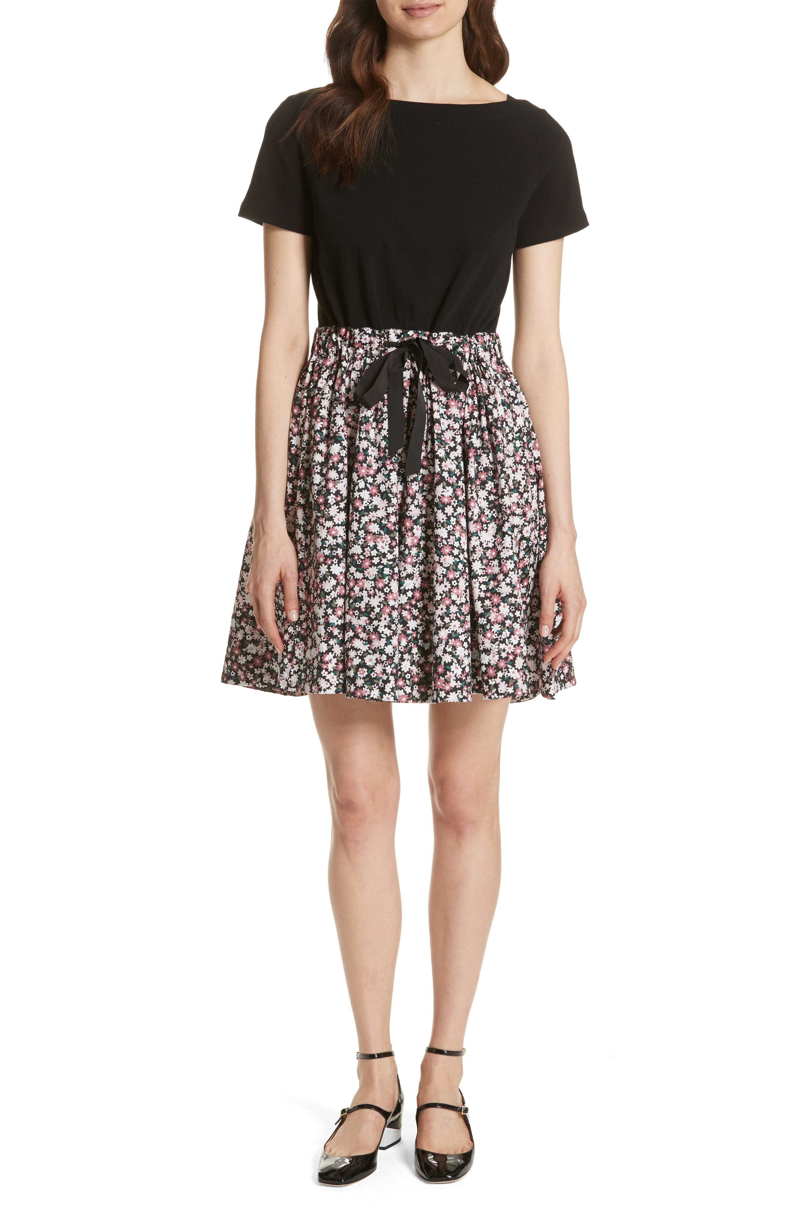 wildflower mixed media dress,                         Main,                         color, 001