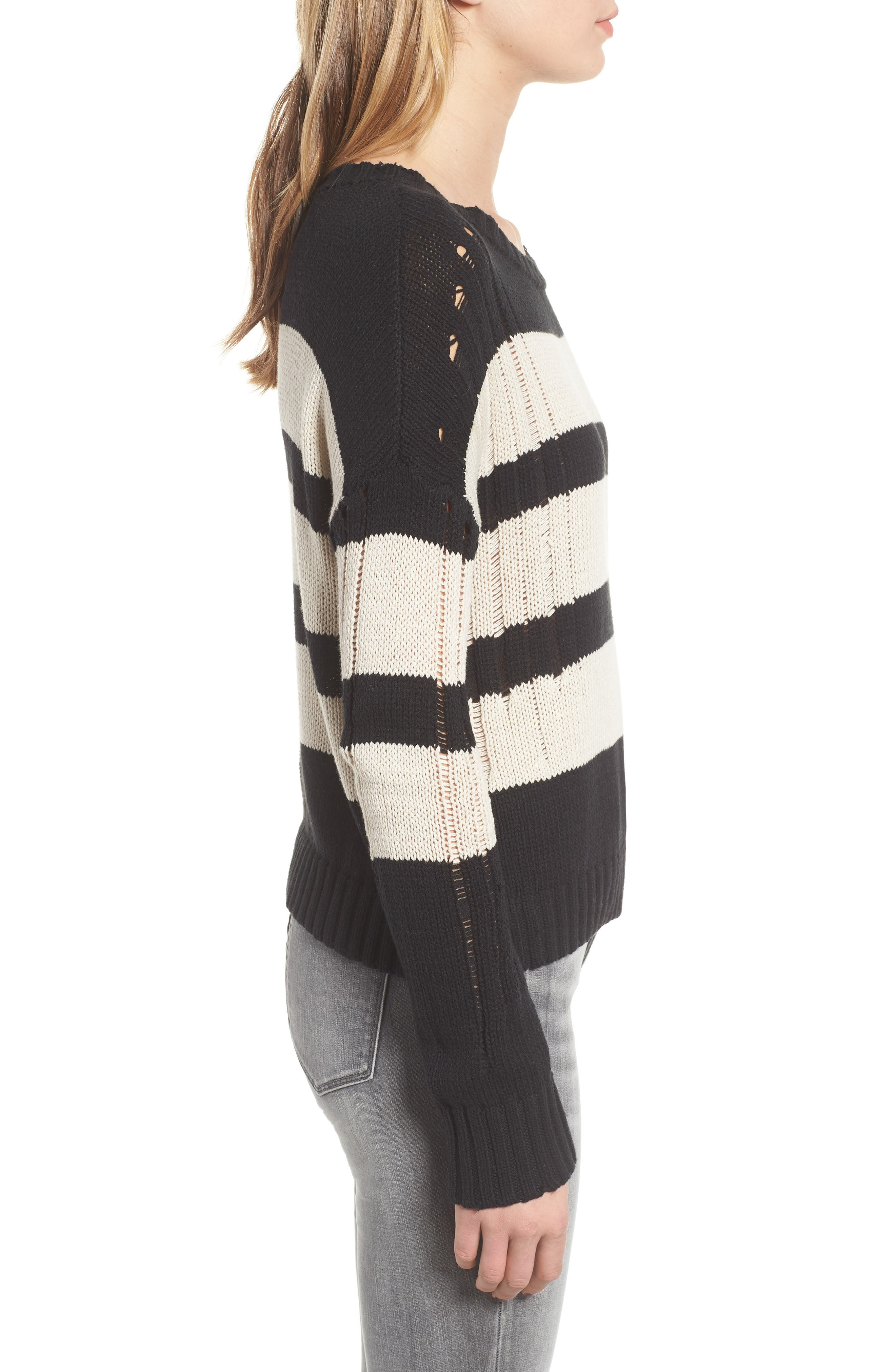 Tia Sweater,                             Alternate thumbnail 3, color,                             BLACK TAN STRIPE
