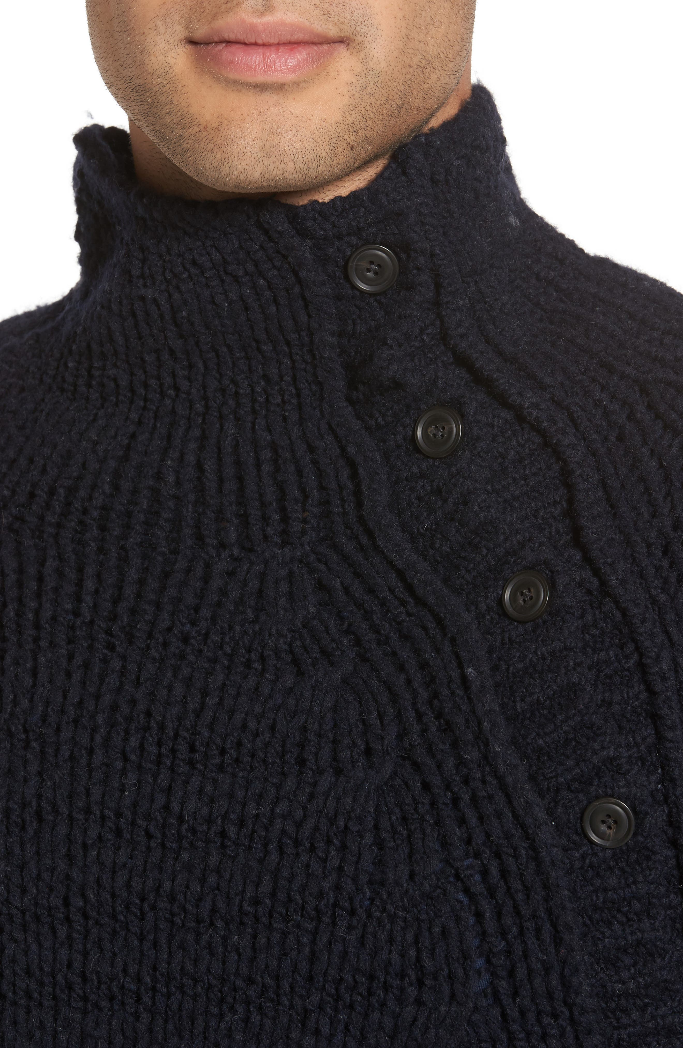 Side Button Mock Neck Sweater,                             Alternate thumbnail 4, color,                             403