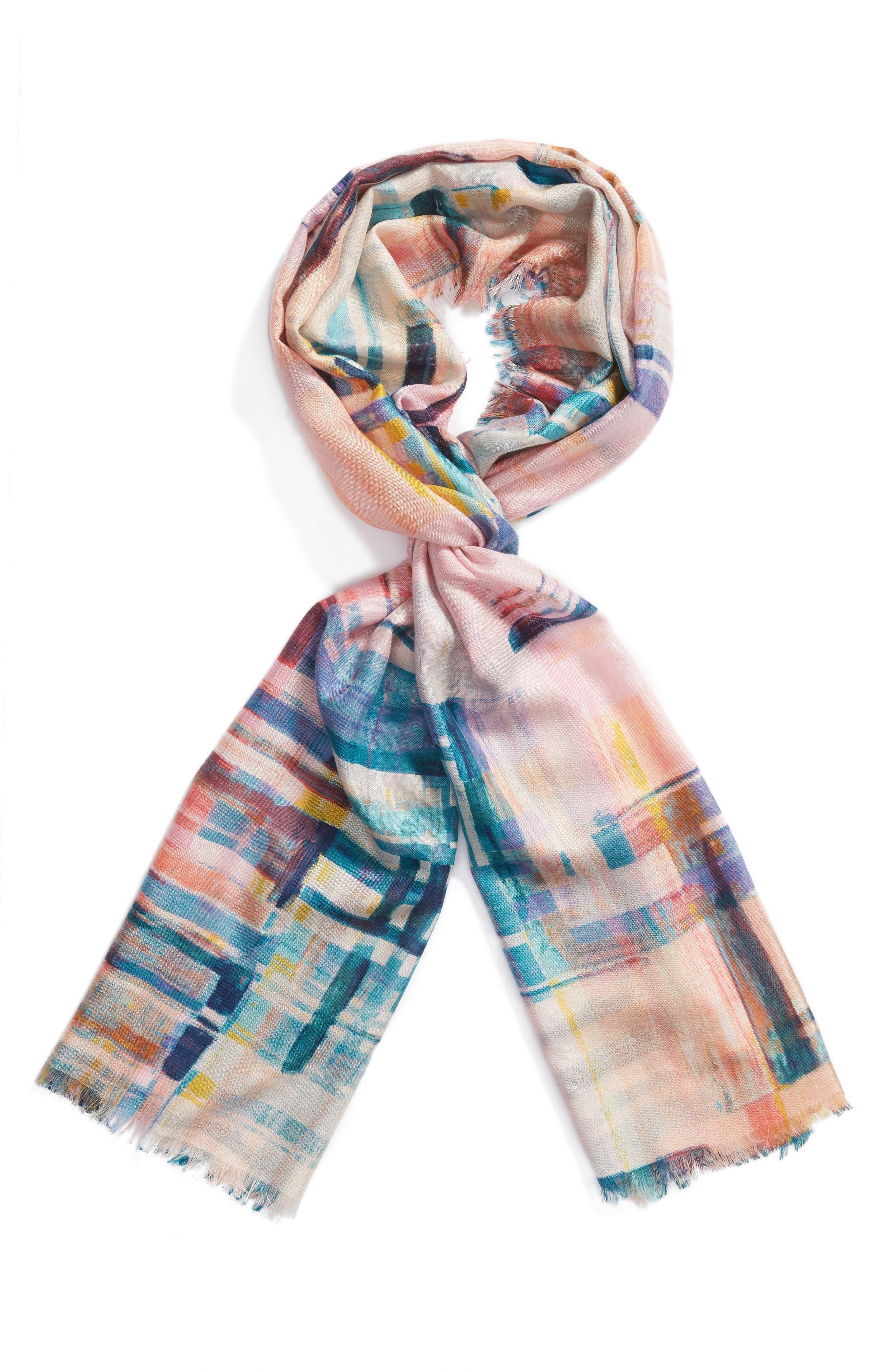 Eyelash Trim Print Cashmere & Silk Wrap,                             Alternate thumbnail 59, color,