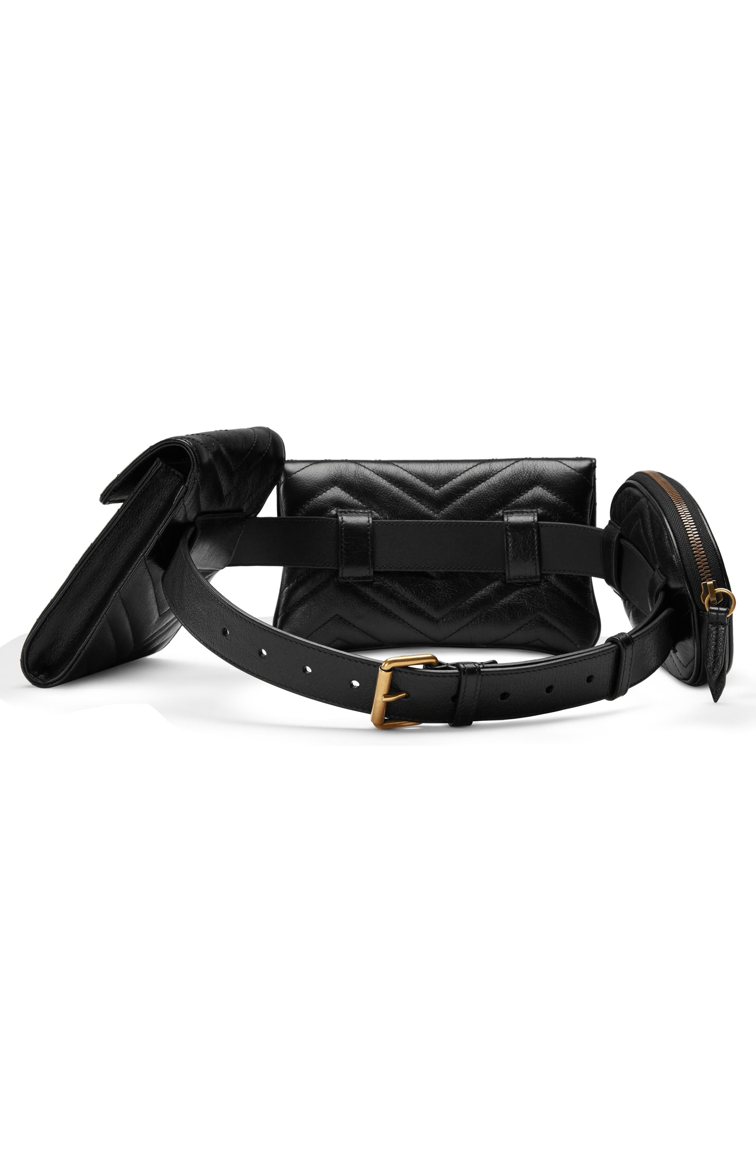 GG Marmont 2.0 Matelassé Triple Pouch Leather Belt Bag,                             Alternate thumbnail 2, color,                             001