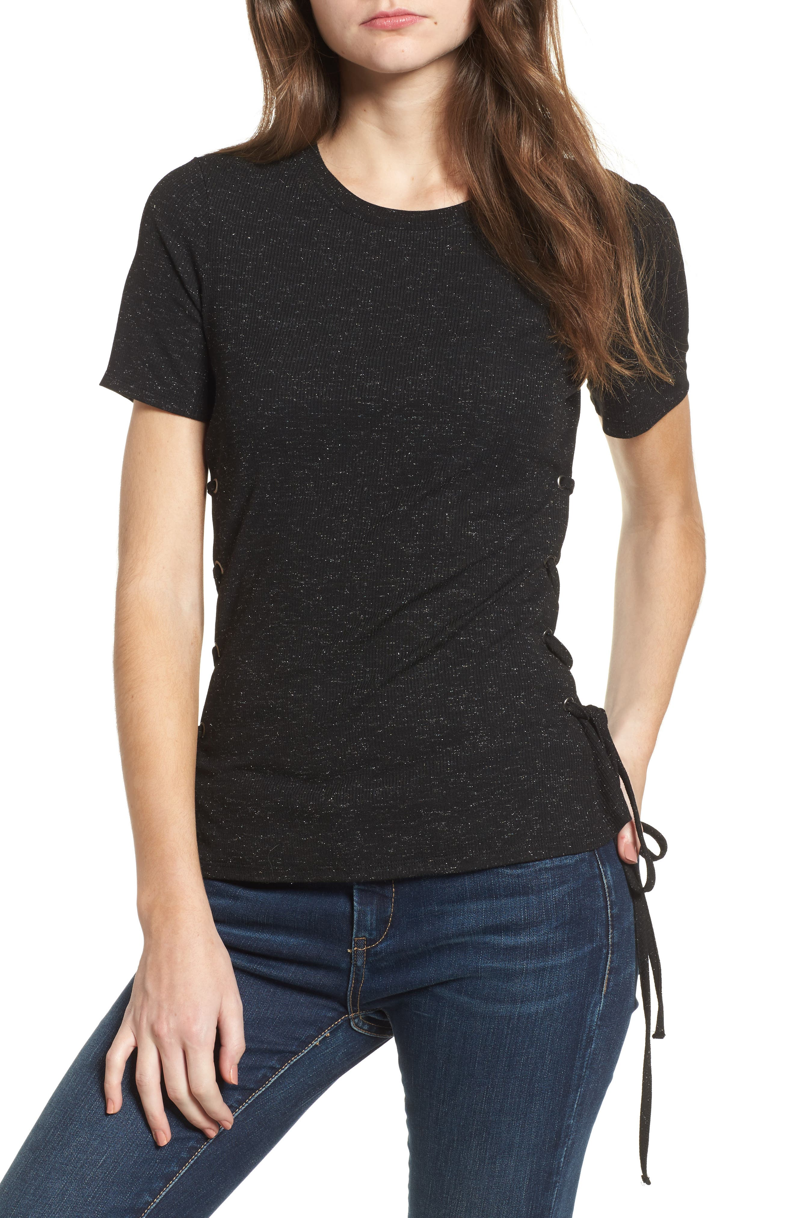 Lace-Up Tee,                         Main,                         color, 001