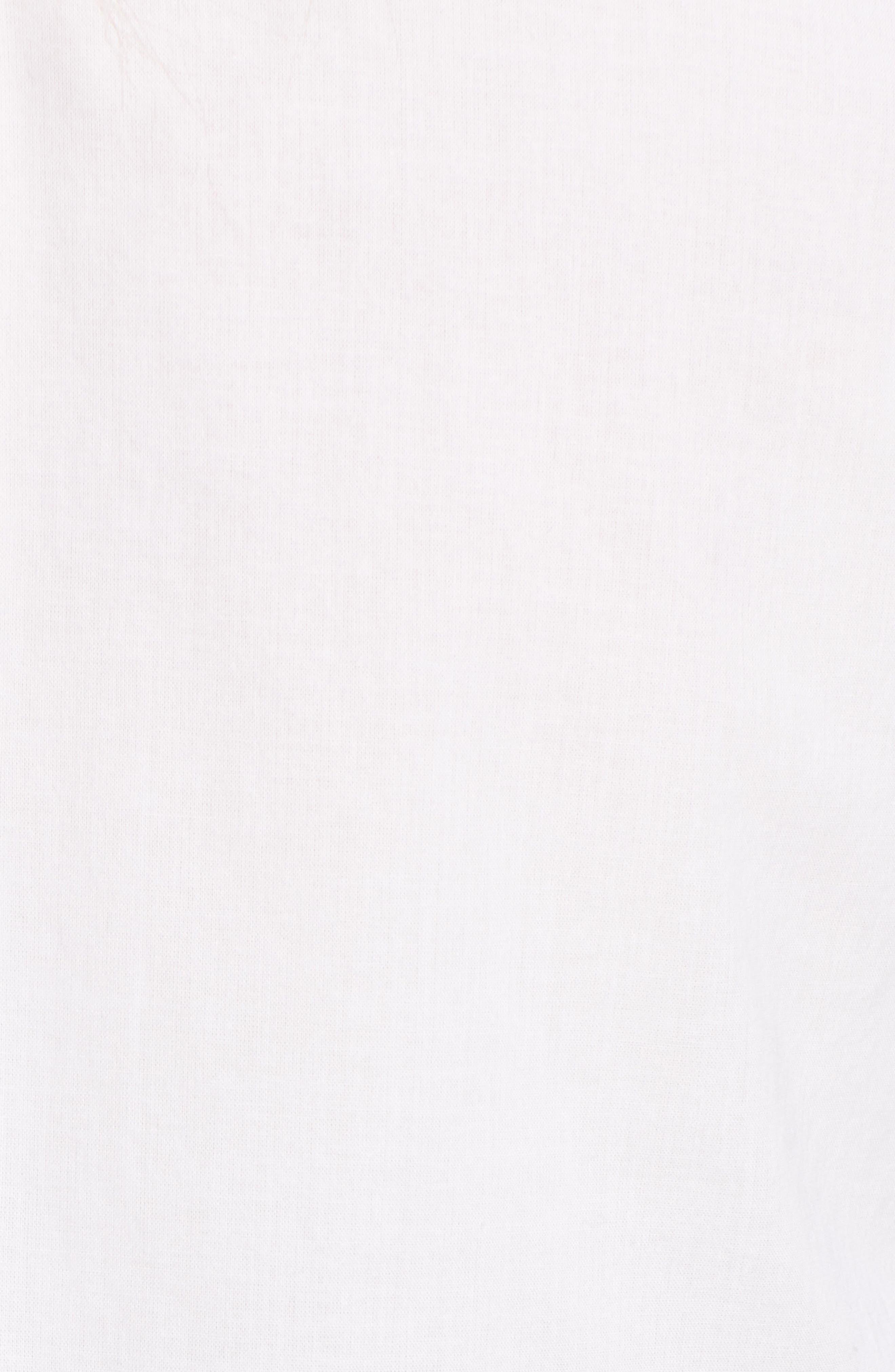 Ribbon Placket Cotton Button Up Shirt,                             Alternate thumbnail 5, color,                             WHITE