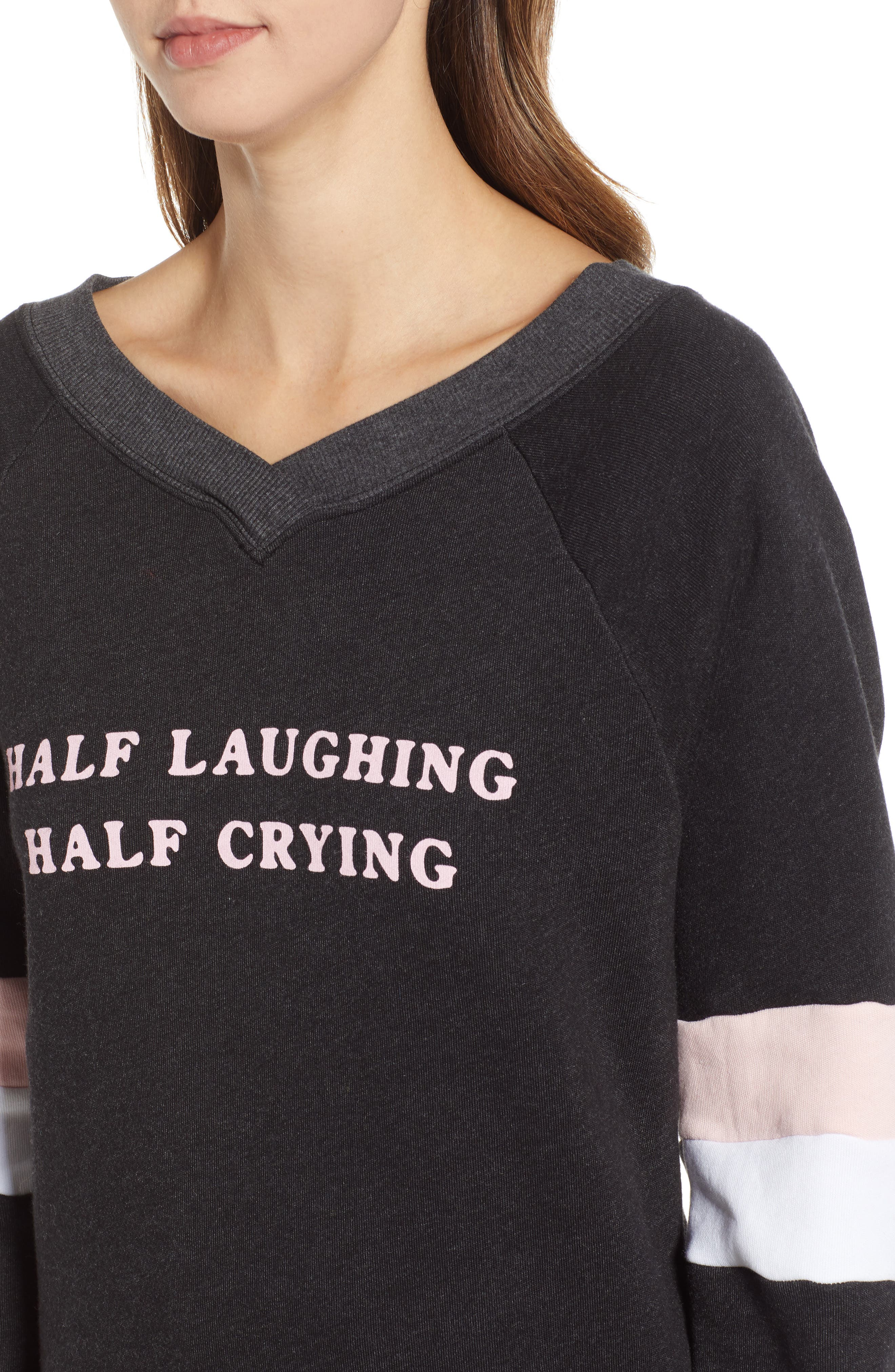 Half Laughing Graphic Pullover,                             Alternate thumbnail 4, color,                             ROMANTIC