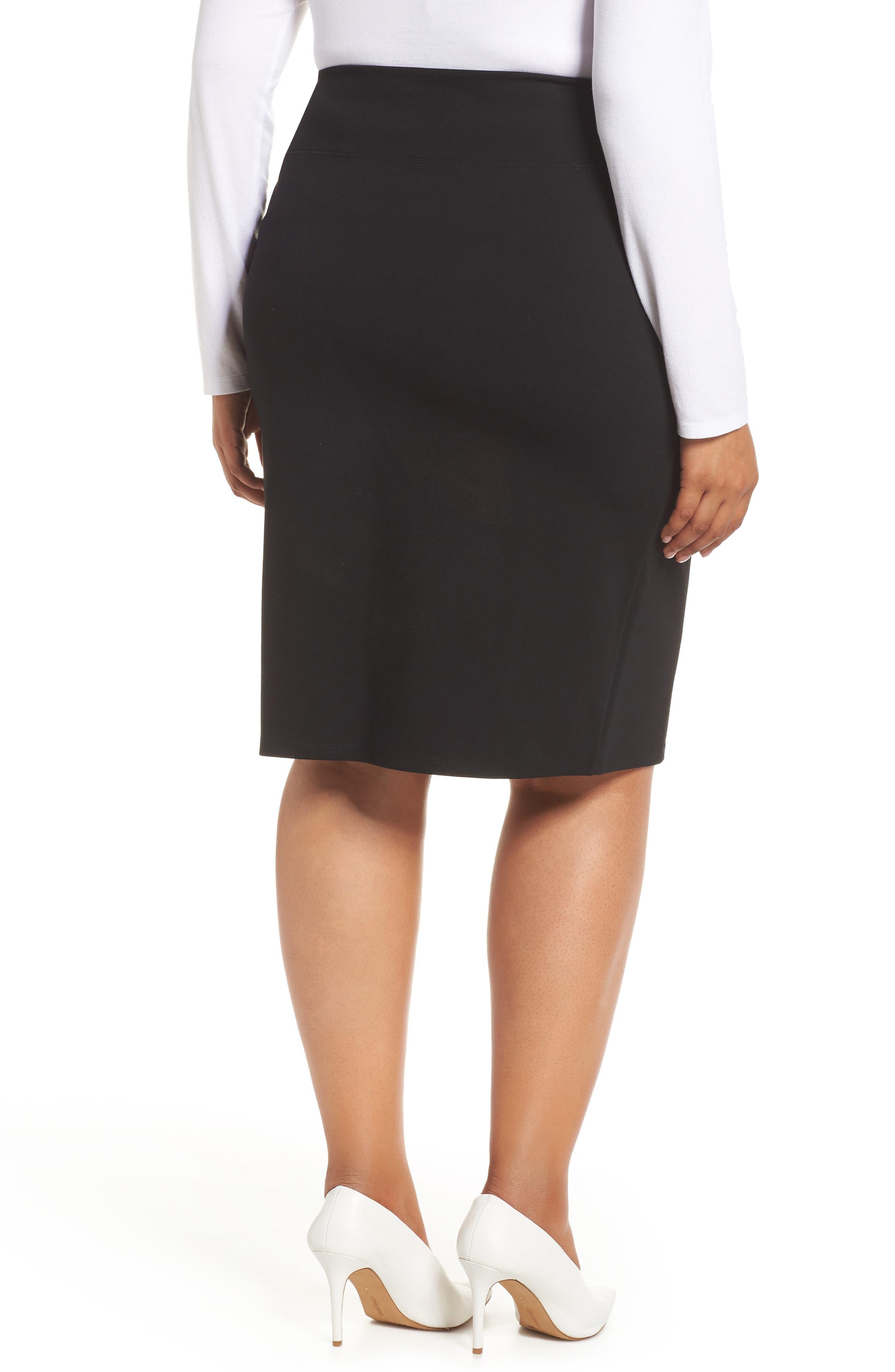 Ponte Skirt,                             Alternate thumbnail 2, color,                             BLACK