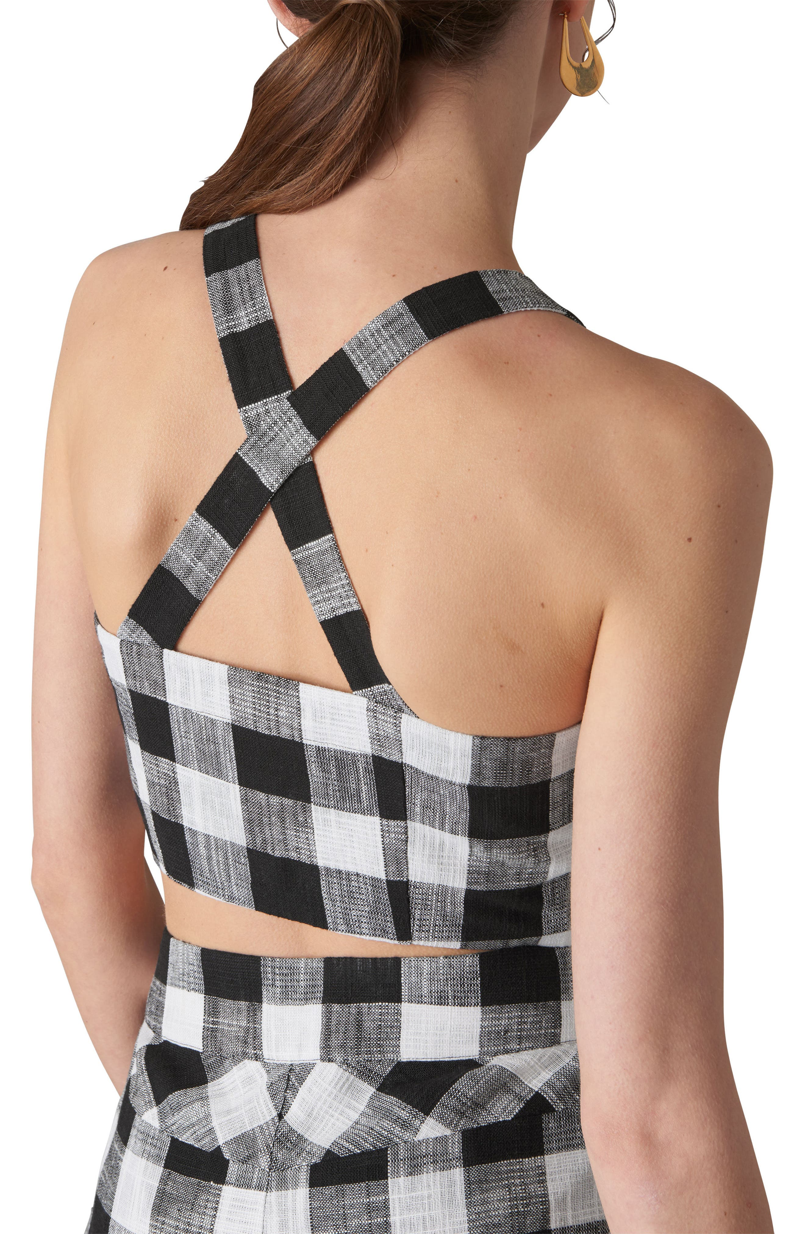Gingham Button-Up Bralette,                             Alternate thumbnail 2, color,                             001
