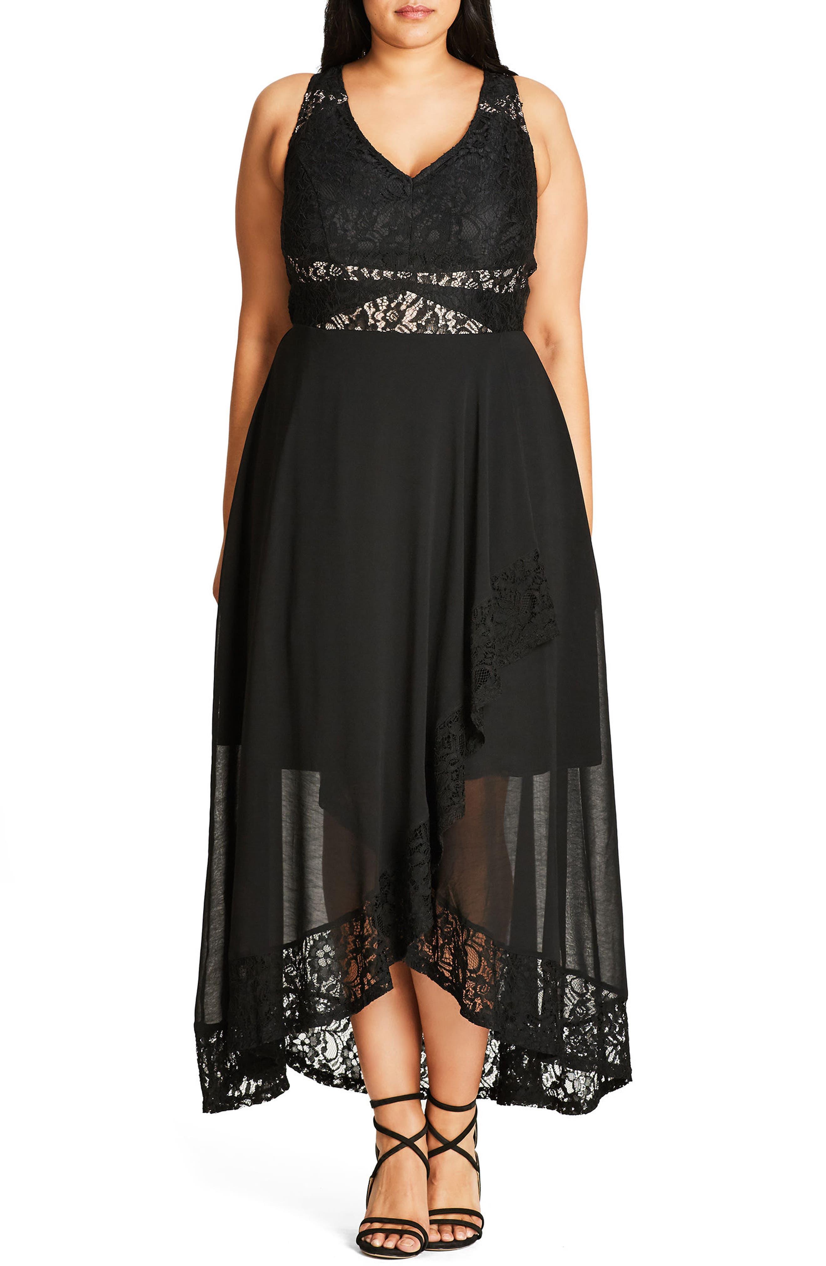 Seduction Lace & Chiffon Maxi Dress,                             Main thumbnail 1, color,                             001