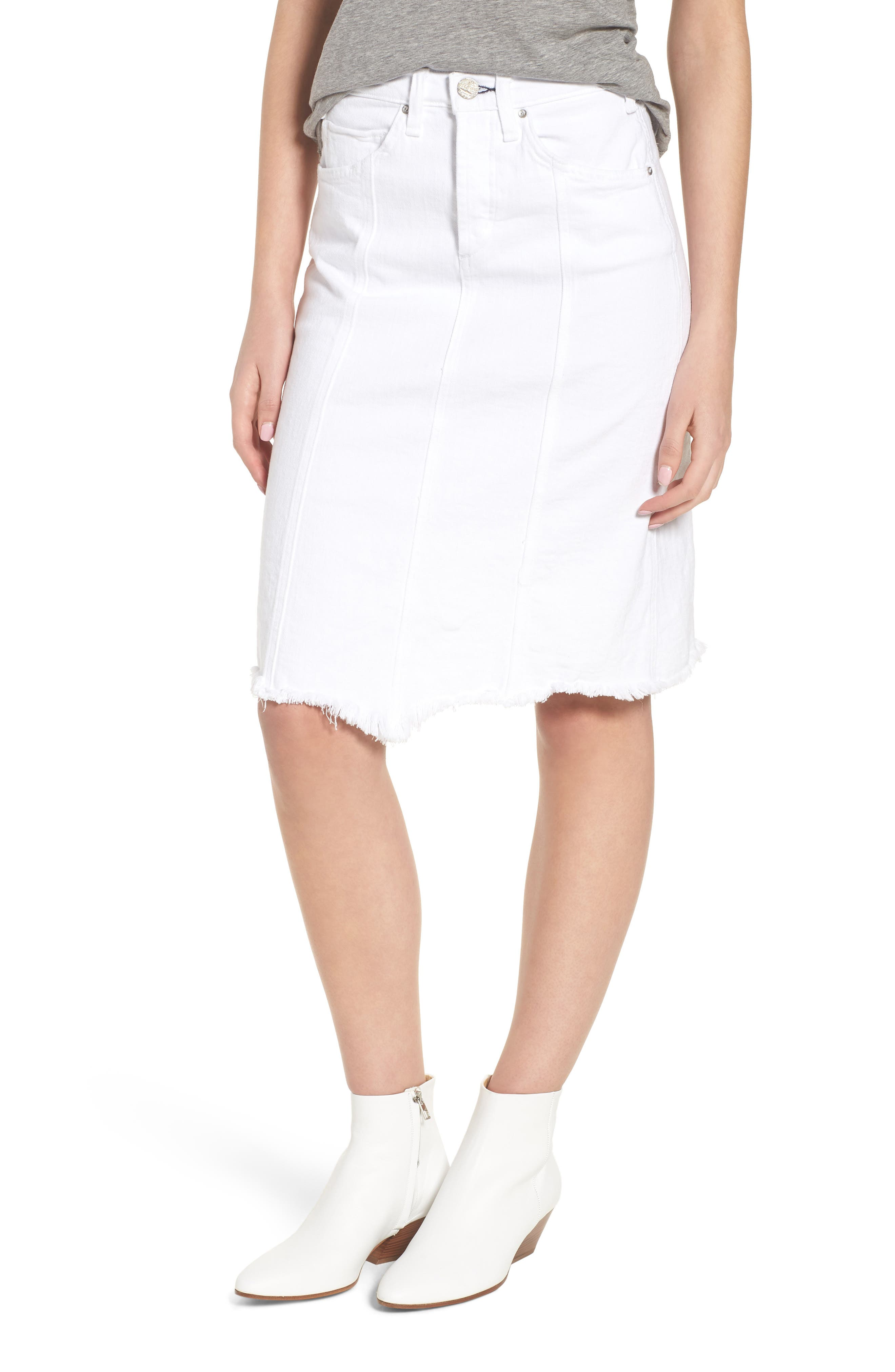 Carangi Angled Hem Denim Skirt,                         Main,                         color, 100