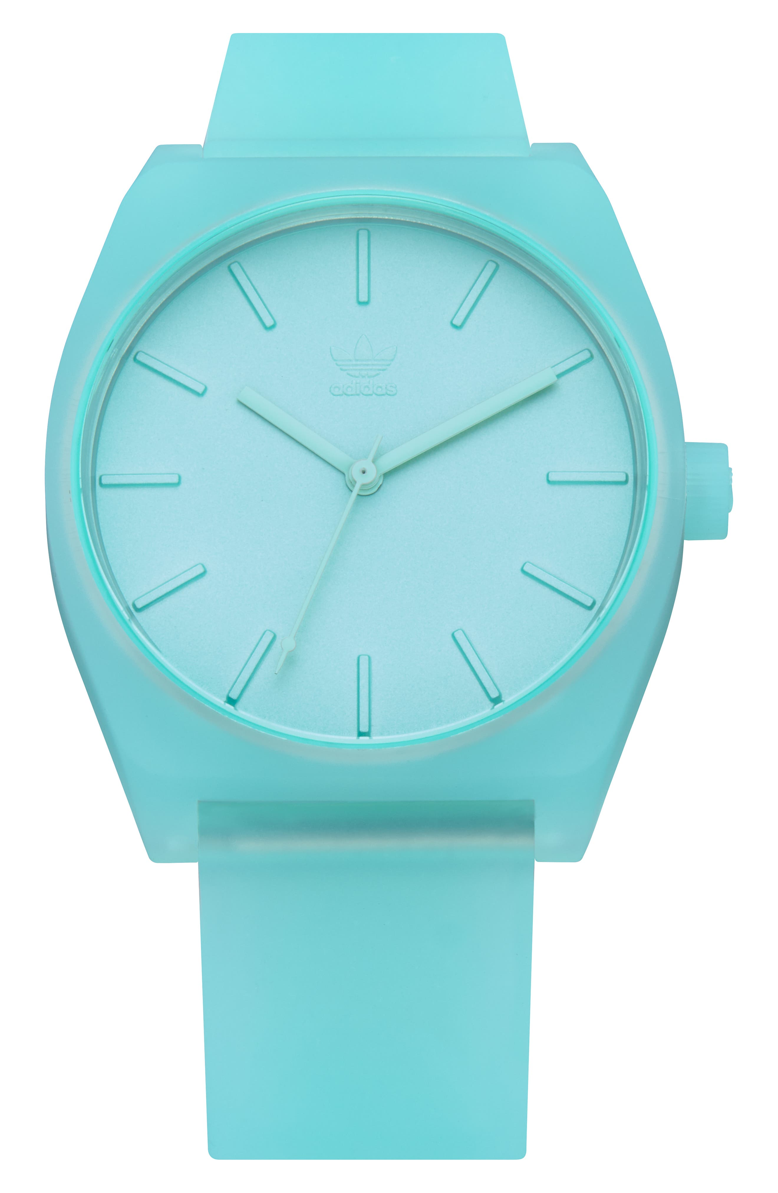 Process Silicone Strap Watch, 38mm,                             Main thumbnail 1, color,                             CLEAR MINT