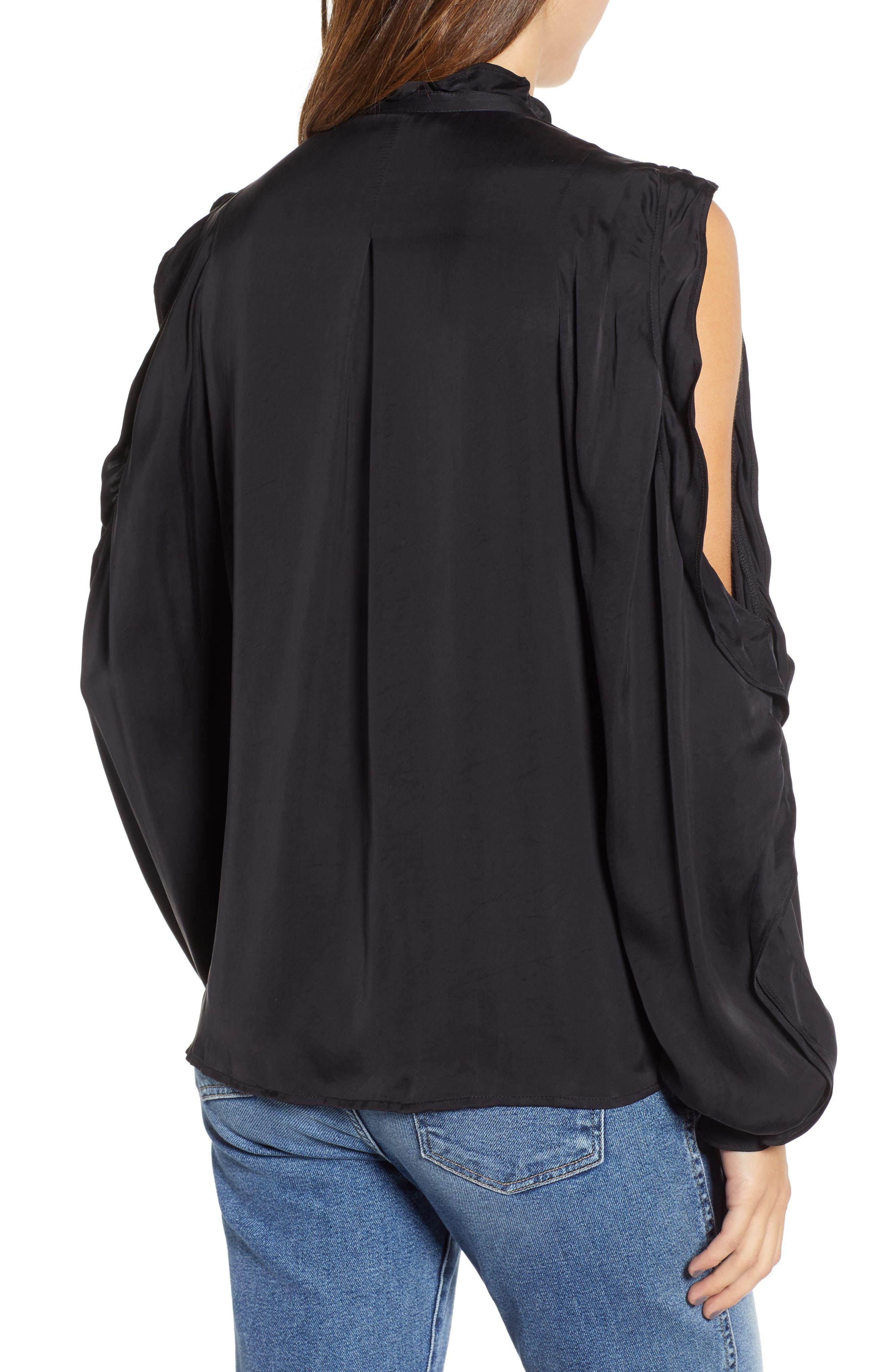Ruffle Cold Shoulder Shirt,                             Alternate thumbnail 2, color,                             004