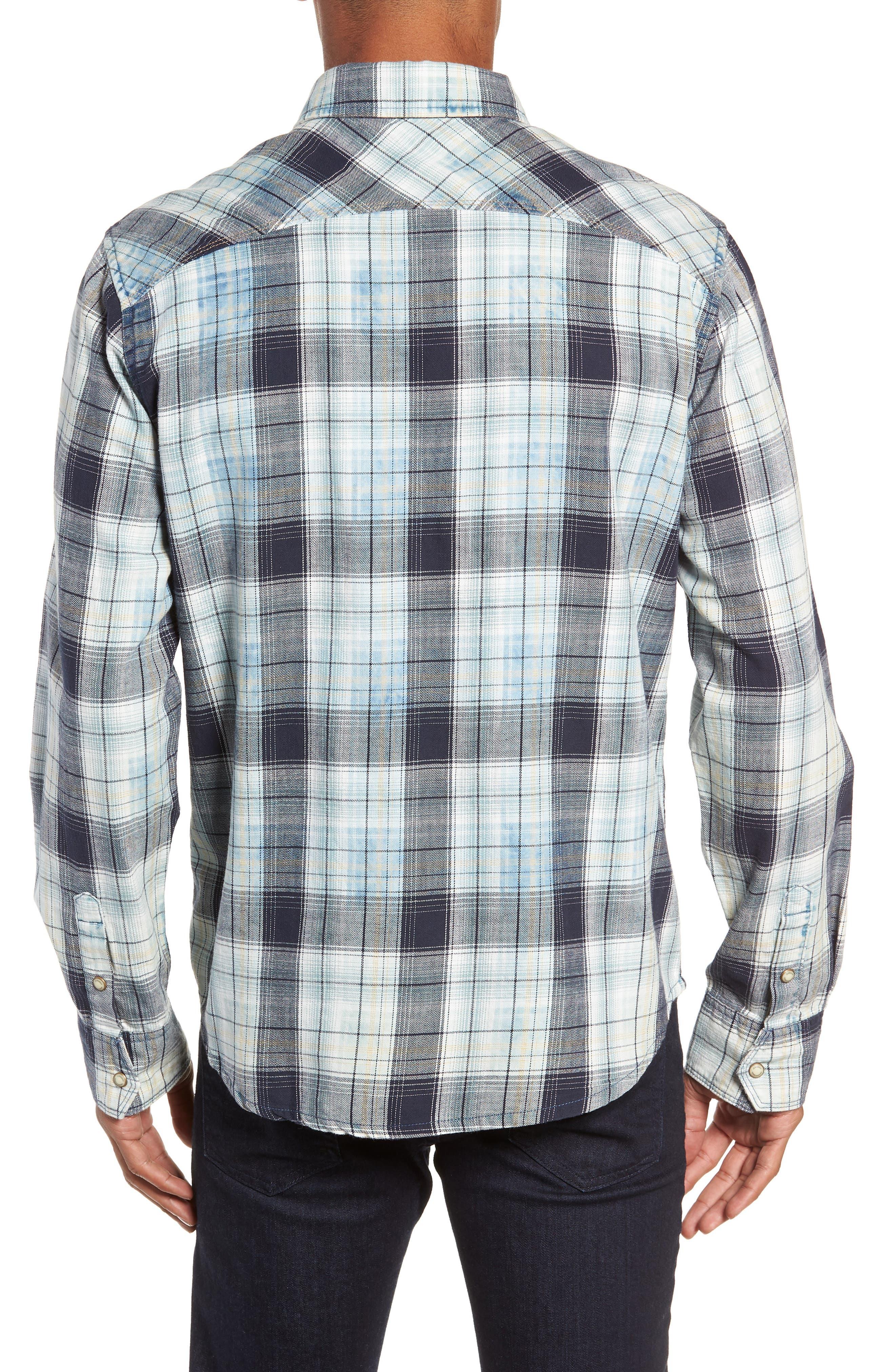 Sawtooth Regular Fit Crosshatch Plaid Shirt,                             Alternate thumbnail 3, color,                             ENSIGN BLUE