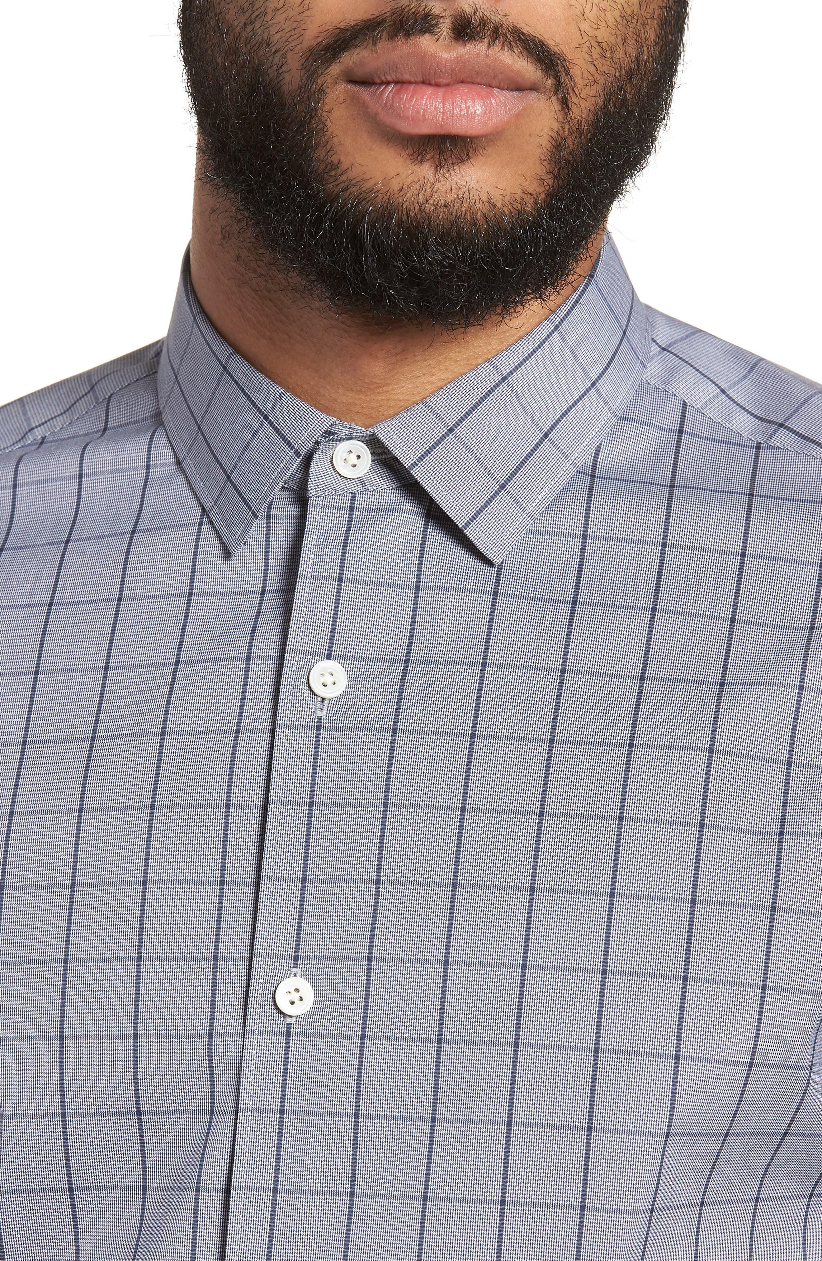 Murrary Trim Fit Stretch Check Sport Shirt,                             Alternate thumbnail 4, color,                             471