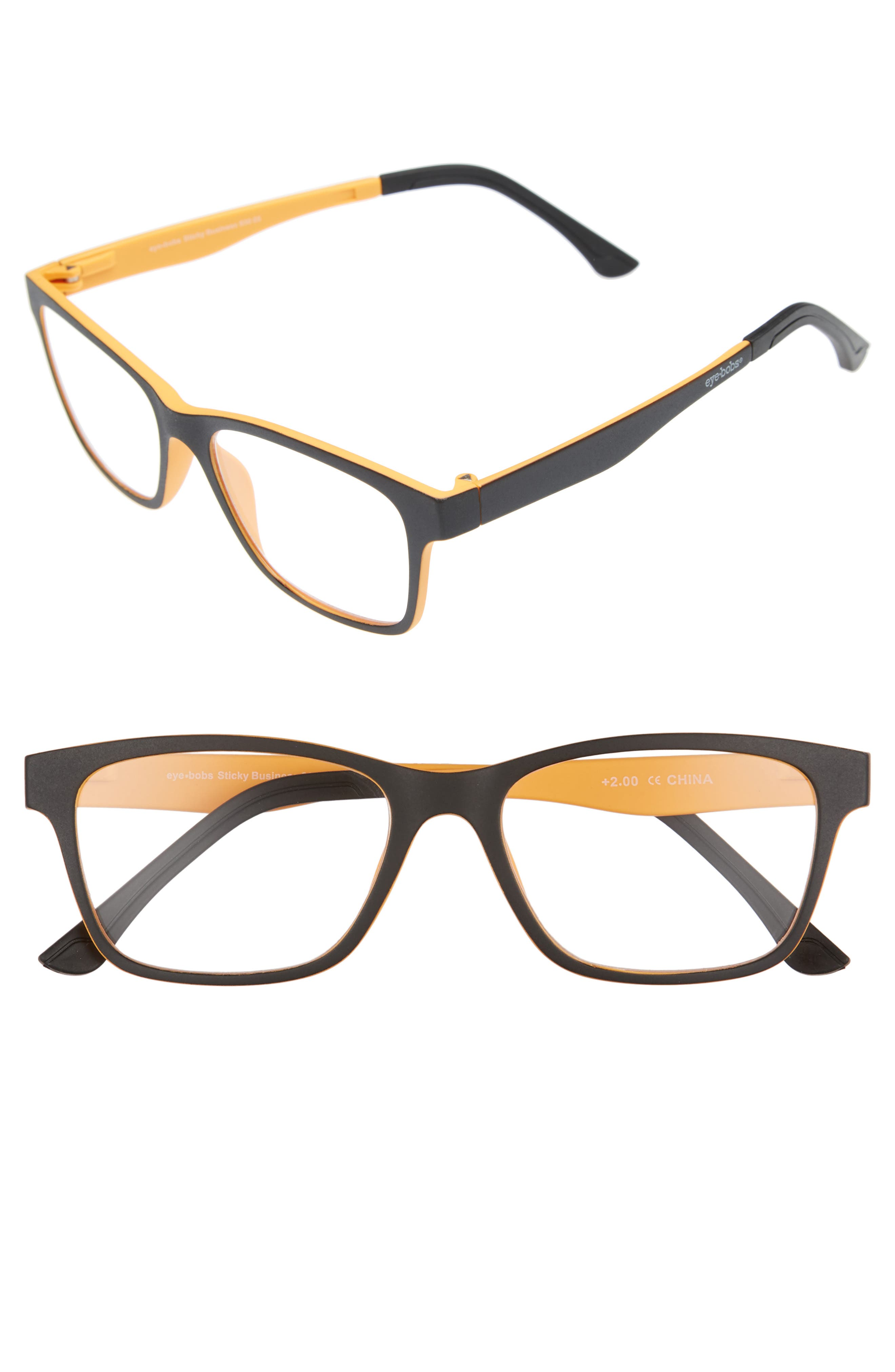 Sticky Business 52mm Reading Glasses with Polarized Sunglass Clip,                             Main thumbnail 1, color,                             BLACK WITH YELLOW