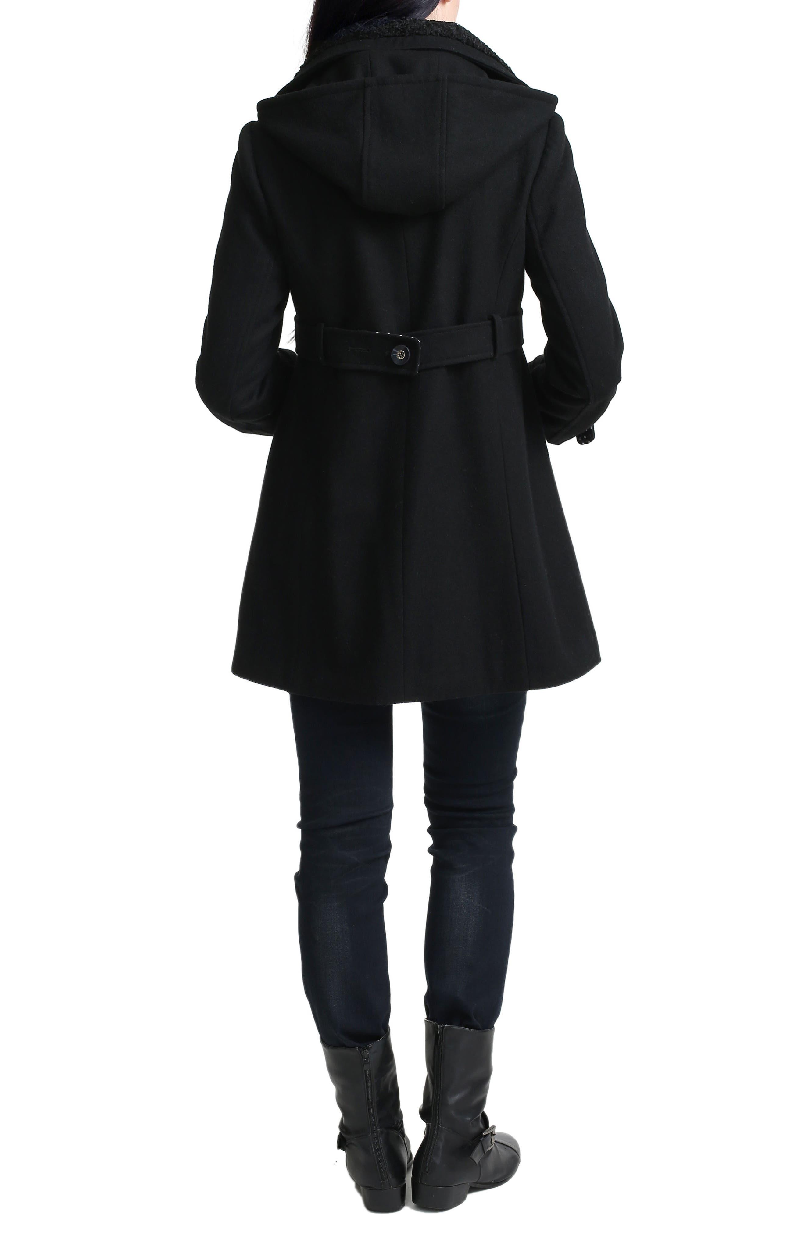 Olivia Wool Blend Maternity Coat,                             Alternate thumbnail 2, color,                             BLACK