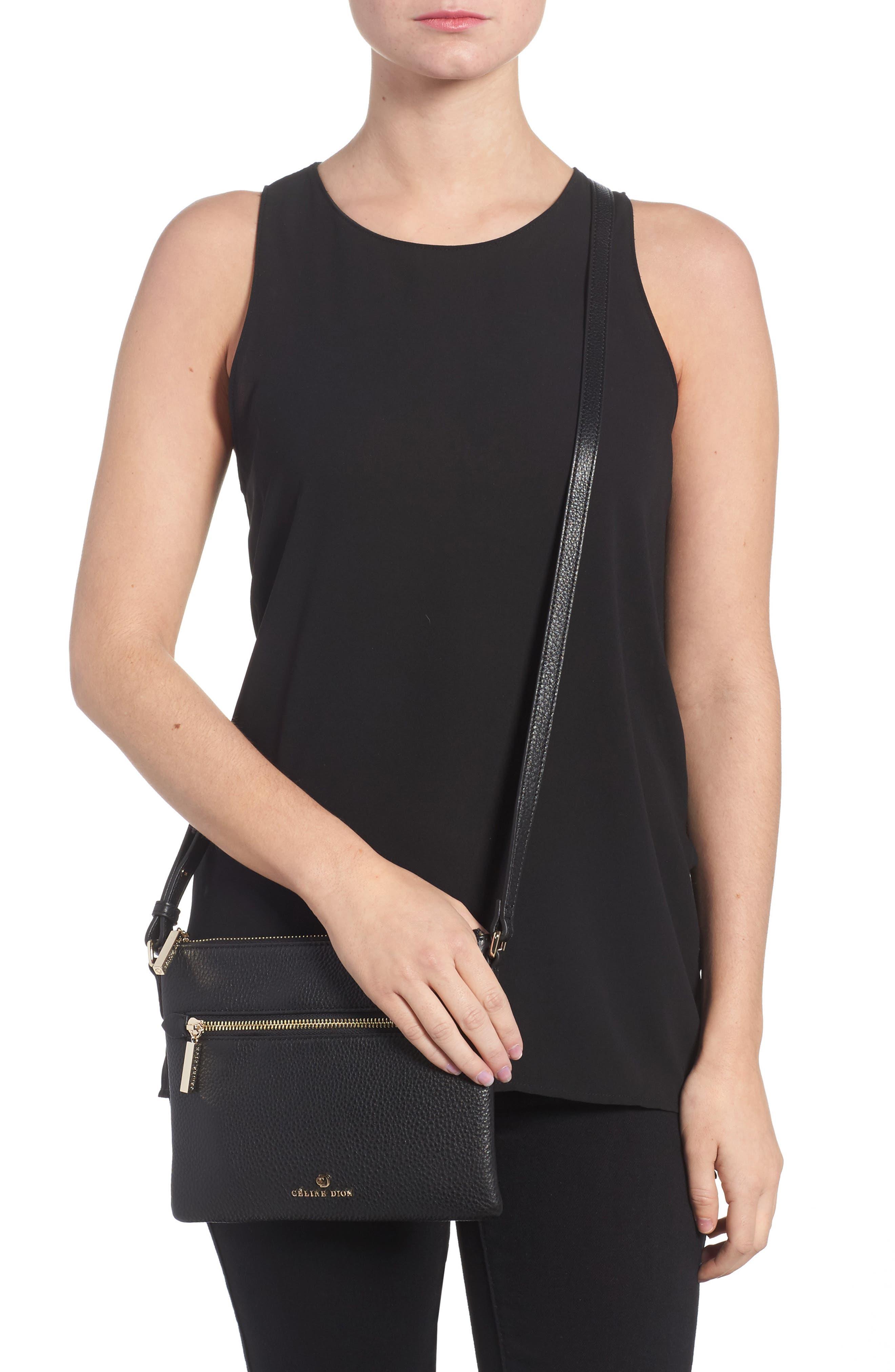 Céline Dion Adagio Leather Crossbody Bag,                             Alternate thumbnail 2, color,                             001