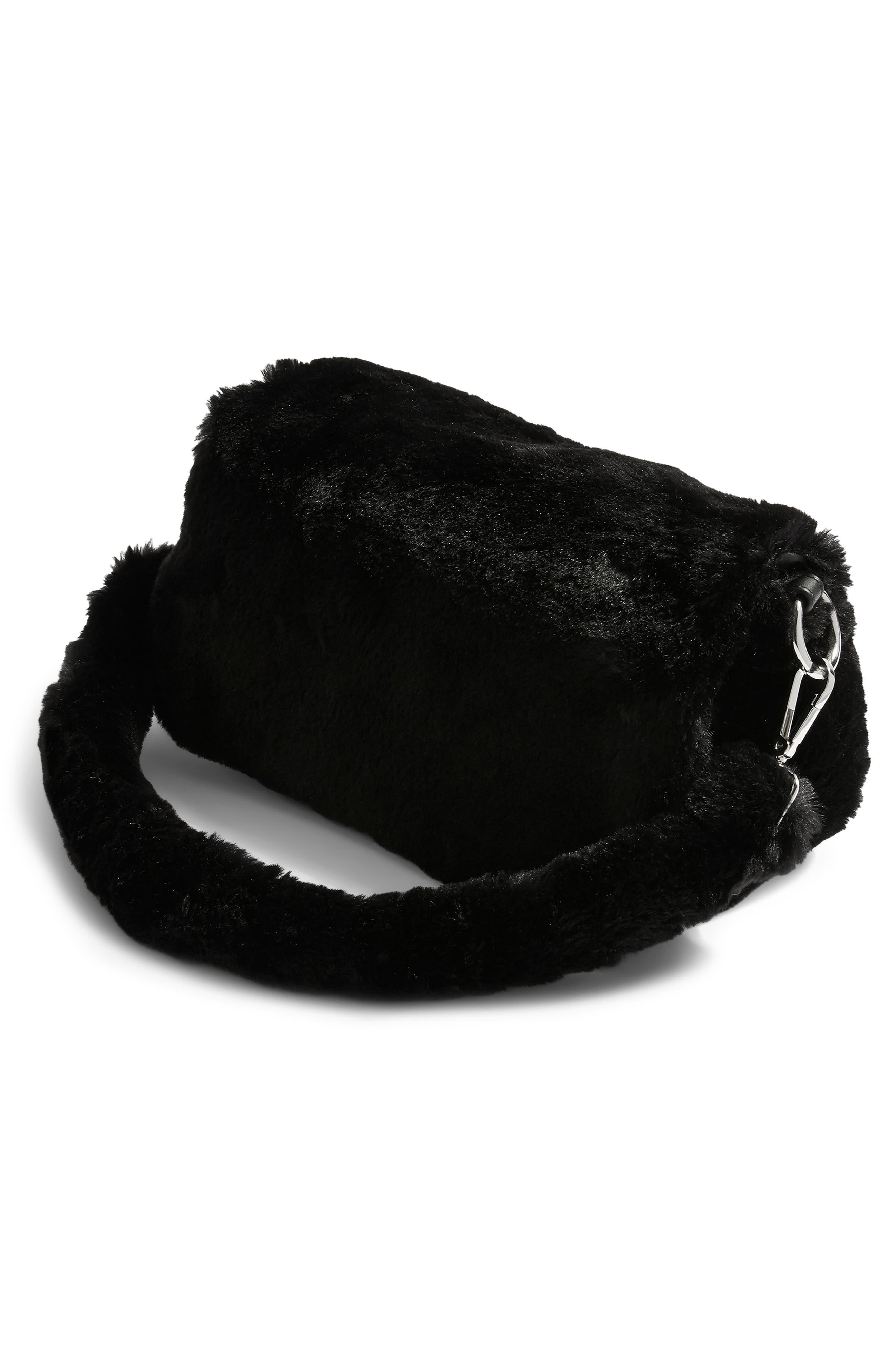 Cici Faux Fur Shoulder Bag,                             Alternate thumbnail 3, color,                             BLACK