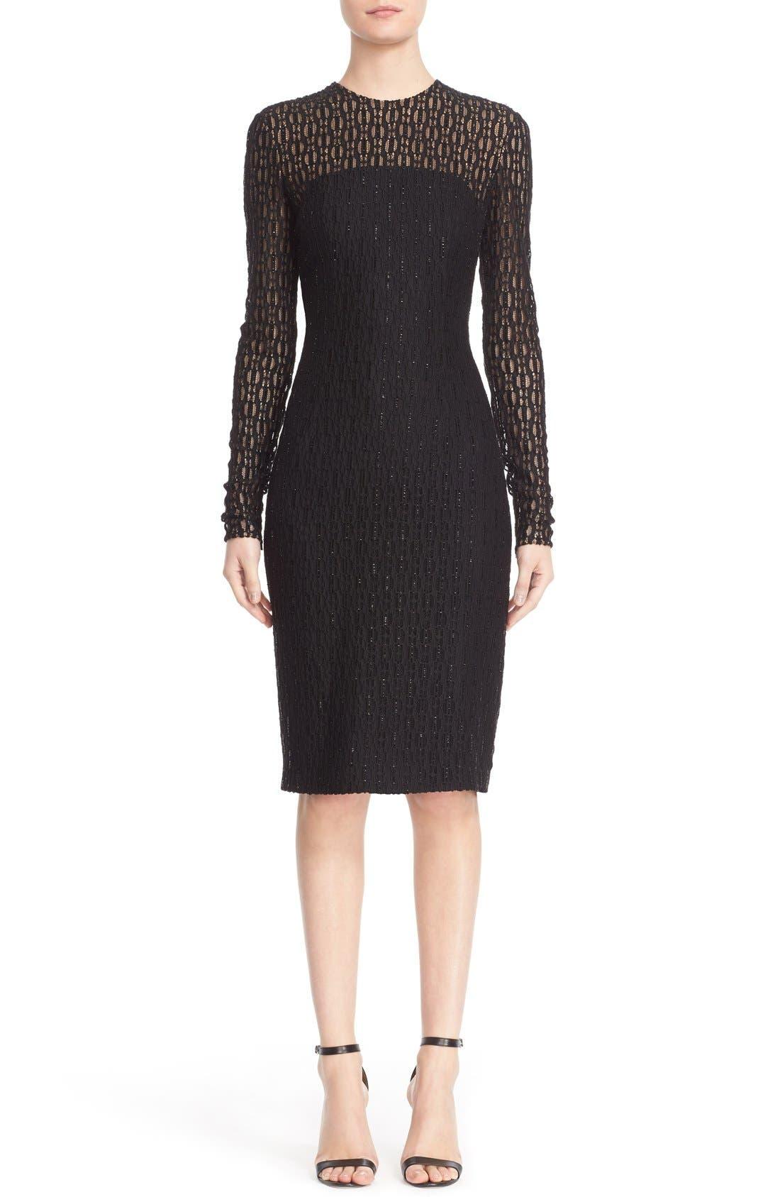 Embellished Illusion Lace Knit Sheath Dress,                             Main thumbnail 1, color,                             001