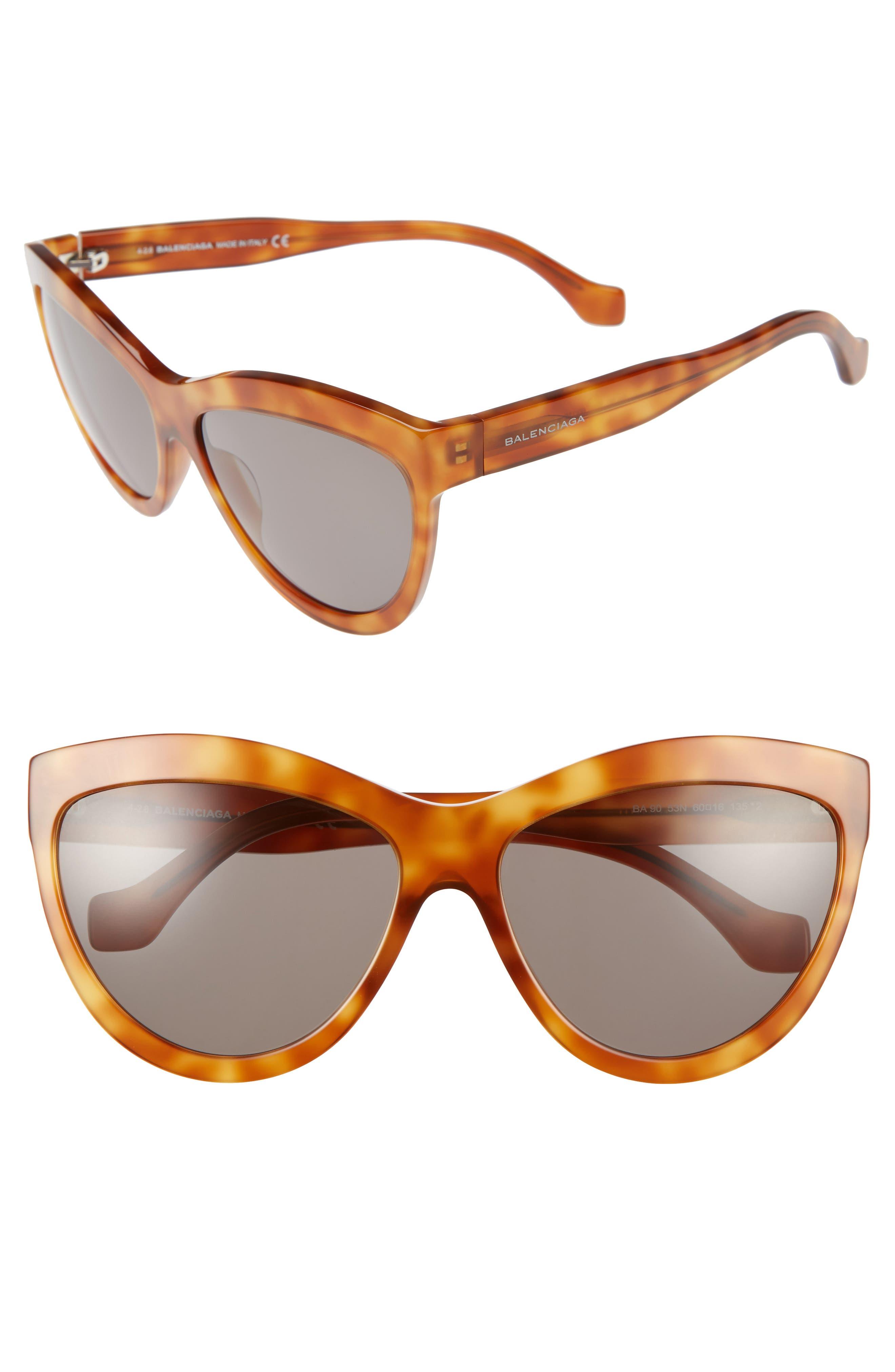60mm Sunglasses,                         Main,                         color, LIGHT HAVANA/ SILVER/ GREEN